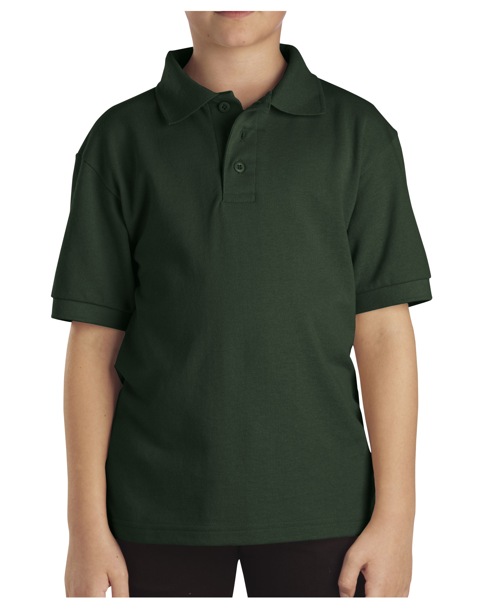 Kids' Short Sleeve Pique Polo Shirt, 4-7 - Hunter Green (GH)