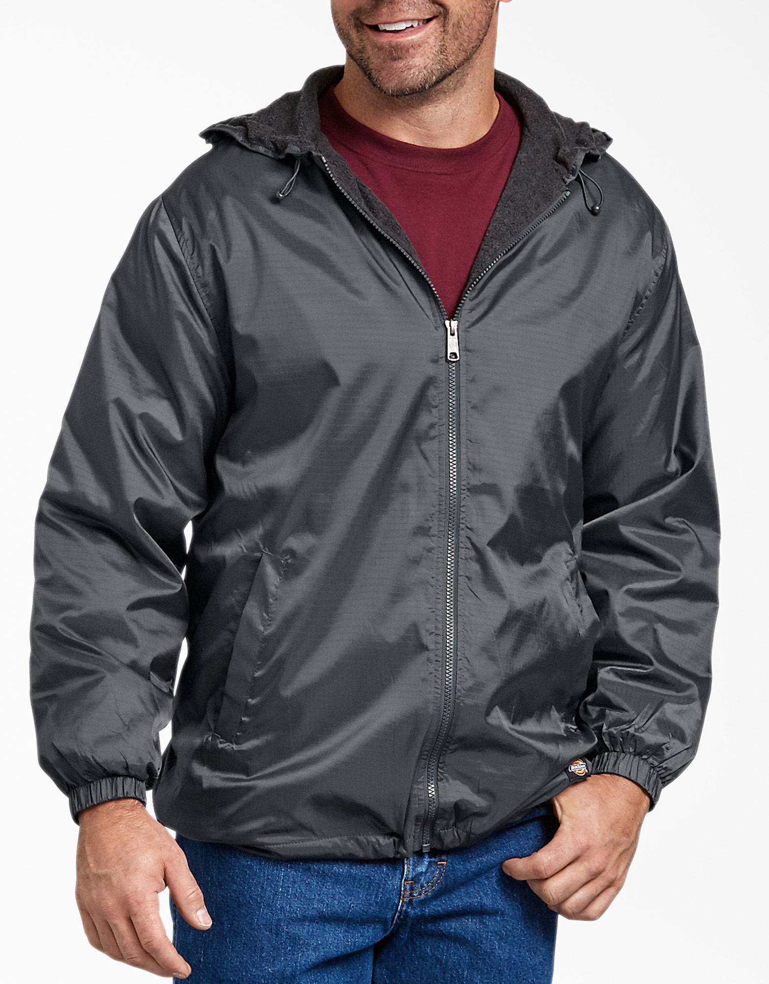 Fleece Lined Hooded Nylon Jacket - Charcoal Gray (CH)