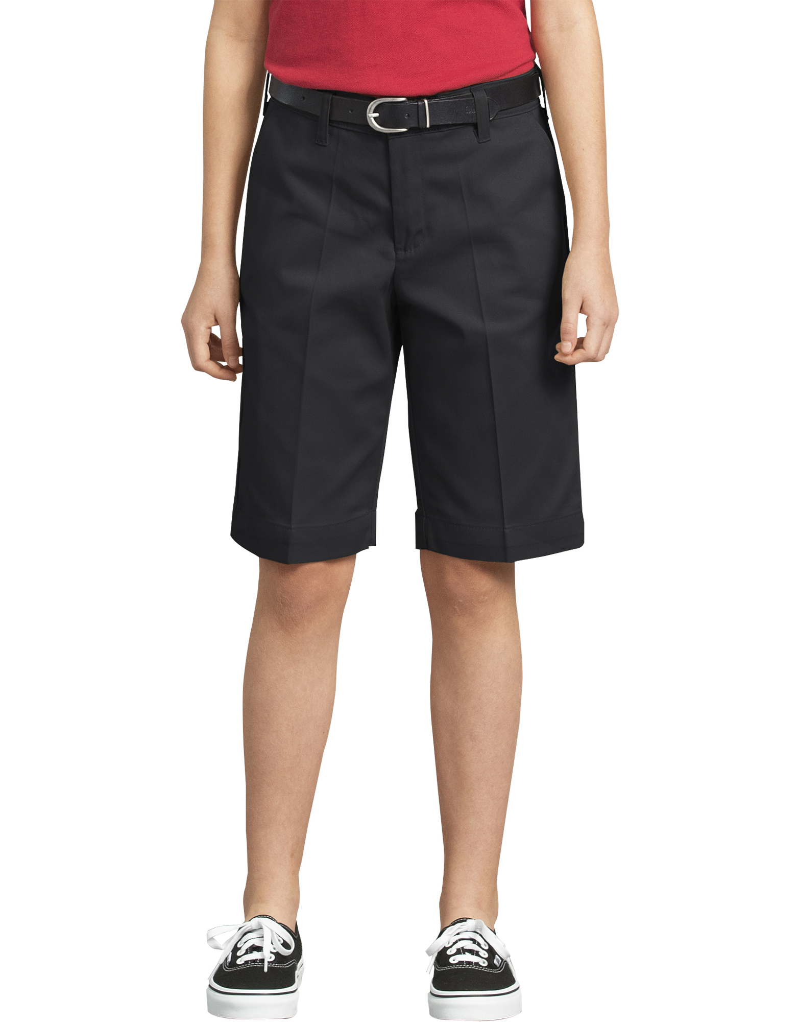 Girls' Classic Fit Bermuda Stretch Twill Shorts, 4-6 - Black (BK)