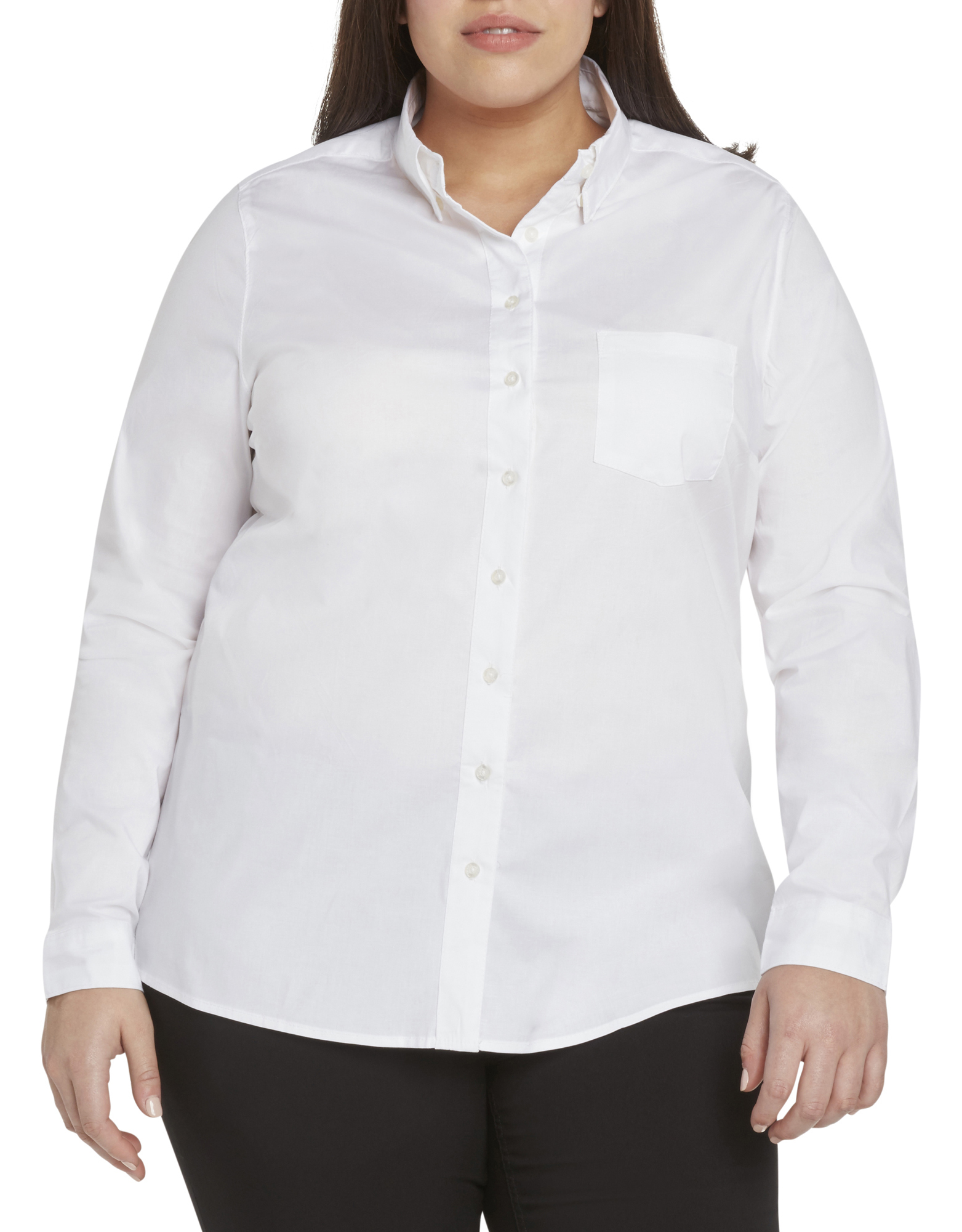 2aad1787a Dickies Girl Juniors' Plus Size Long Sleeve Poplin Button Down Shirt -  White (WHT