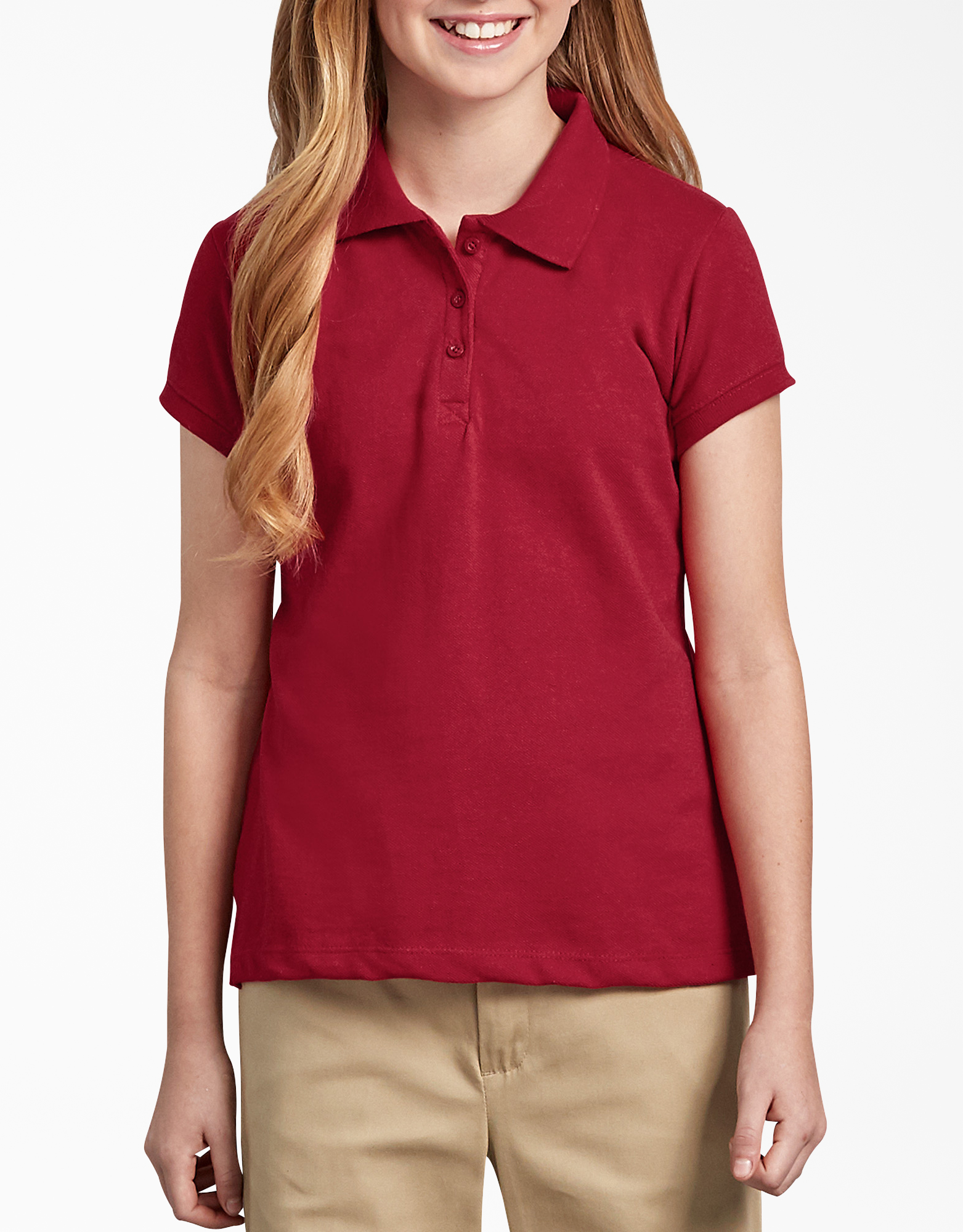 Girls' Short Sleeve Pique Polo Shirt,  7-20 - English Red (ER)