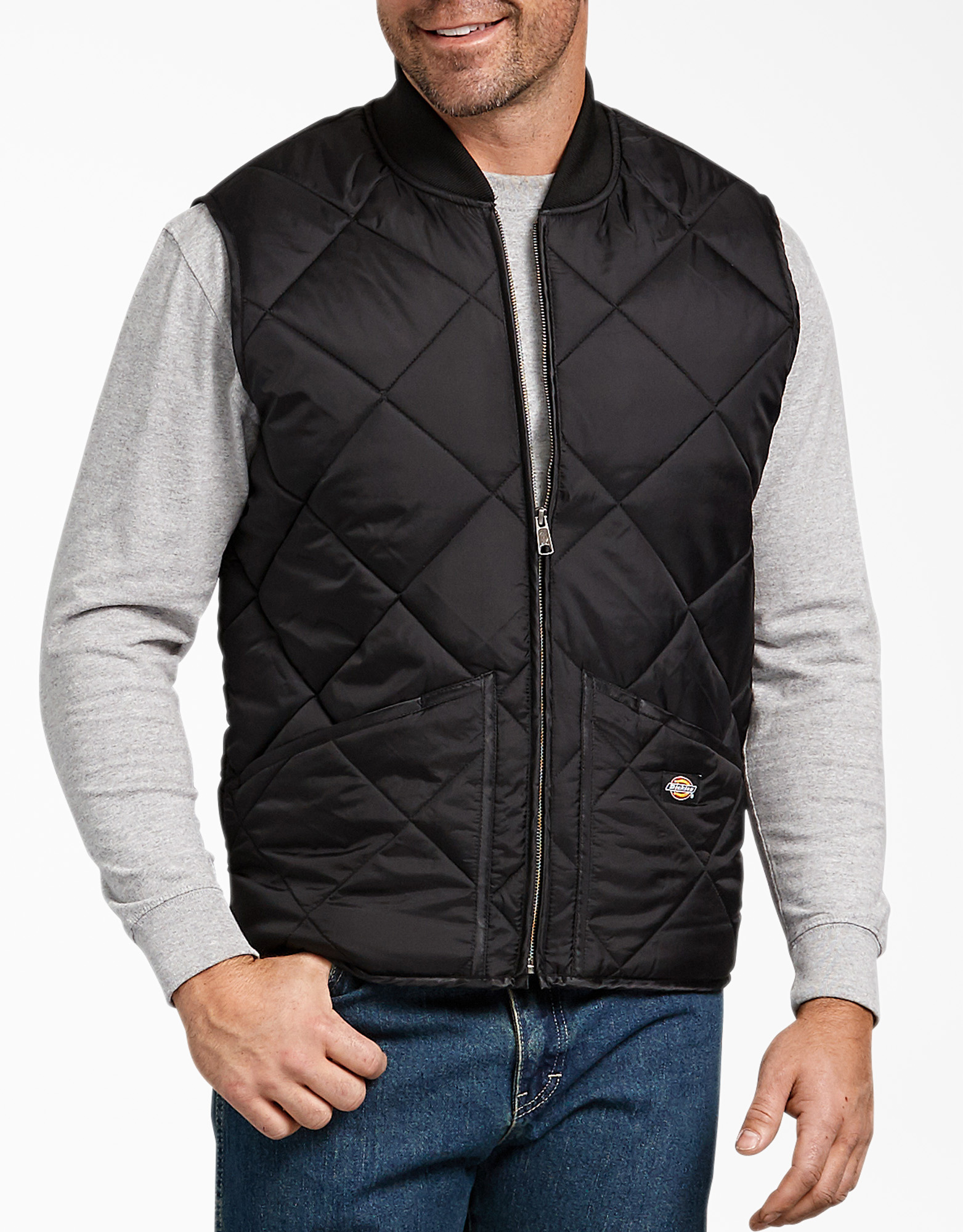 Diamond Quilted Nylon Vest - Black (BK)