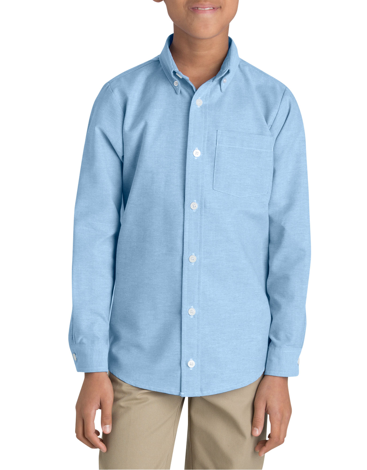 Boys' Long Sleeve Oxford Shirt, 6-20 - Light Blue (LB)