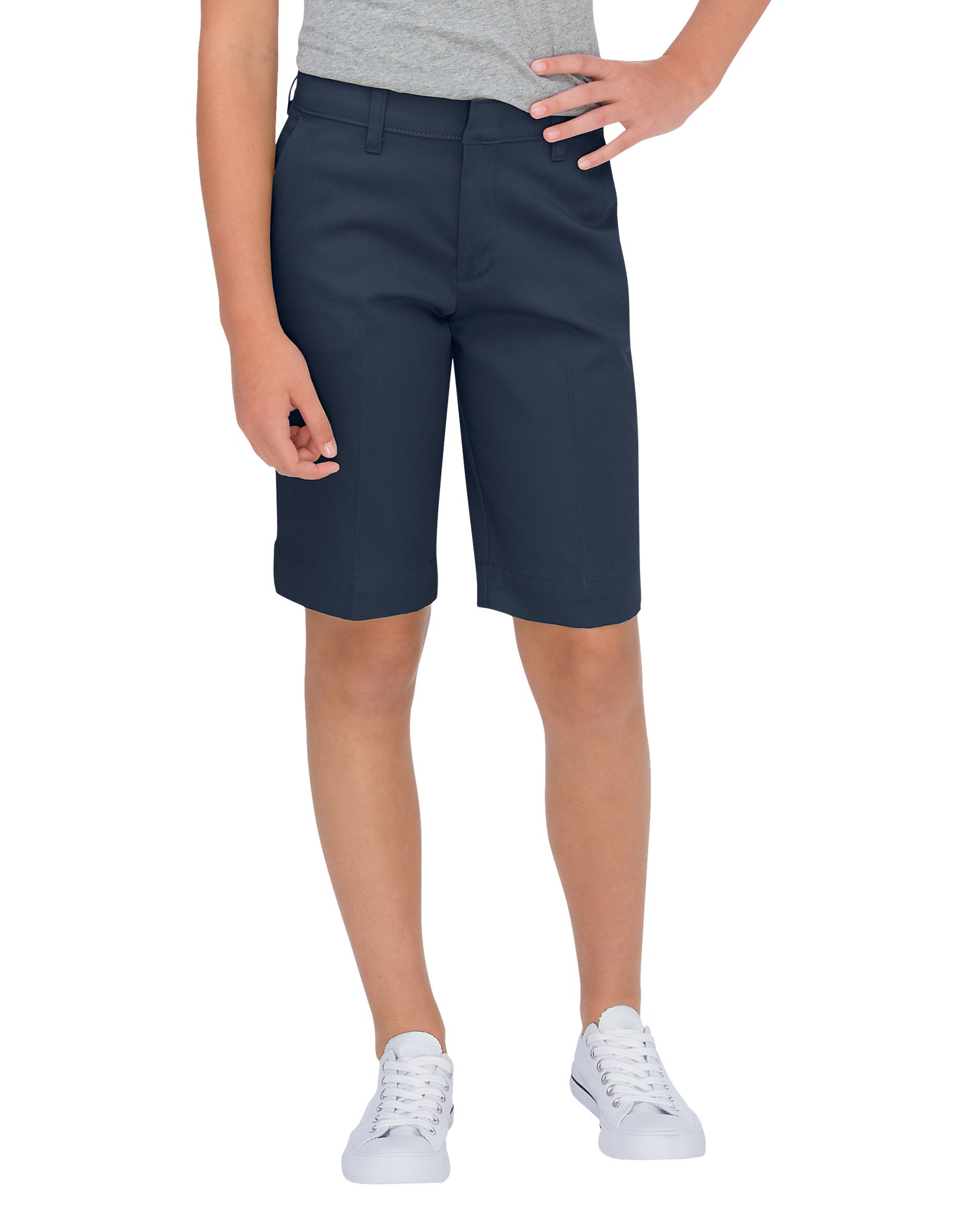 Girls' Classic Fit Bermuda Stretch Twill Shorts, 7-20 - Dark Navy (DN)