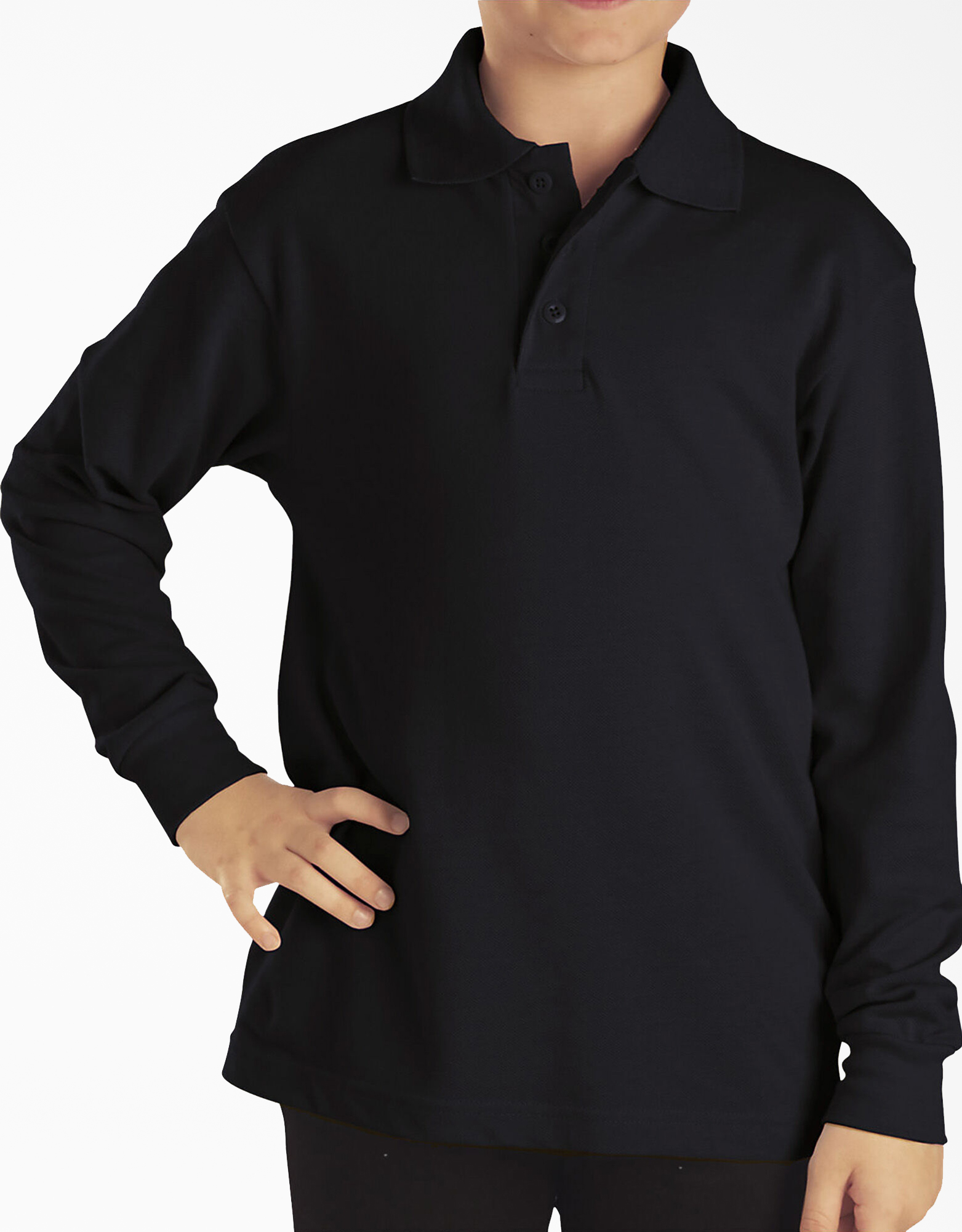 Kids' Long Sleeve Piqué Polo Shirt - Black (KBK)