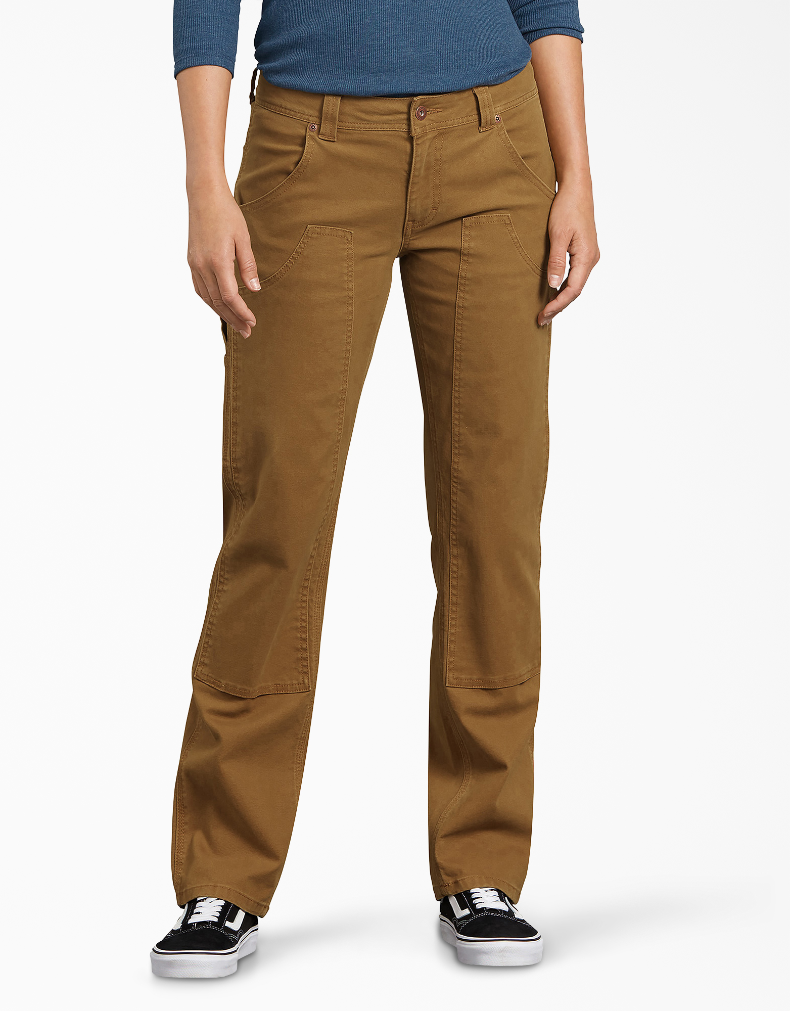 Women's Stretch Double-Front Duck Carpenter Pants - Brown Duck (RBD)