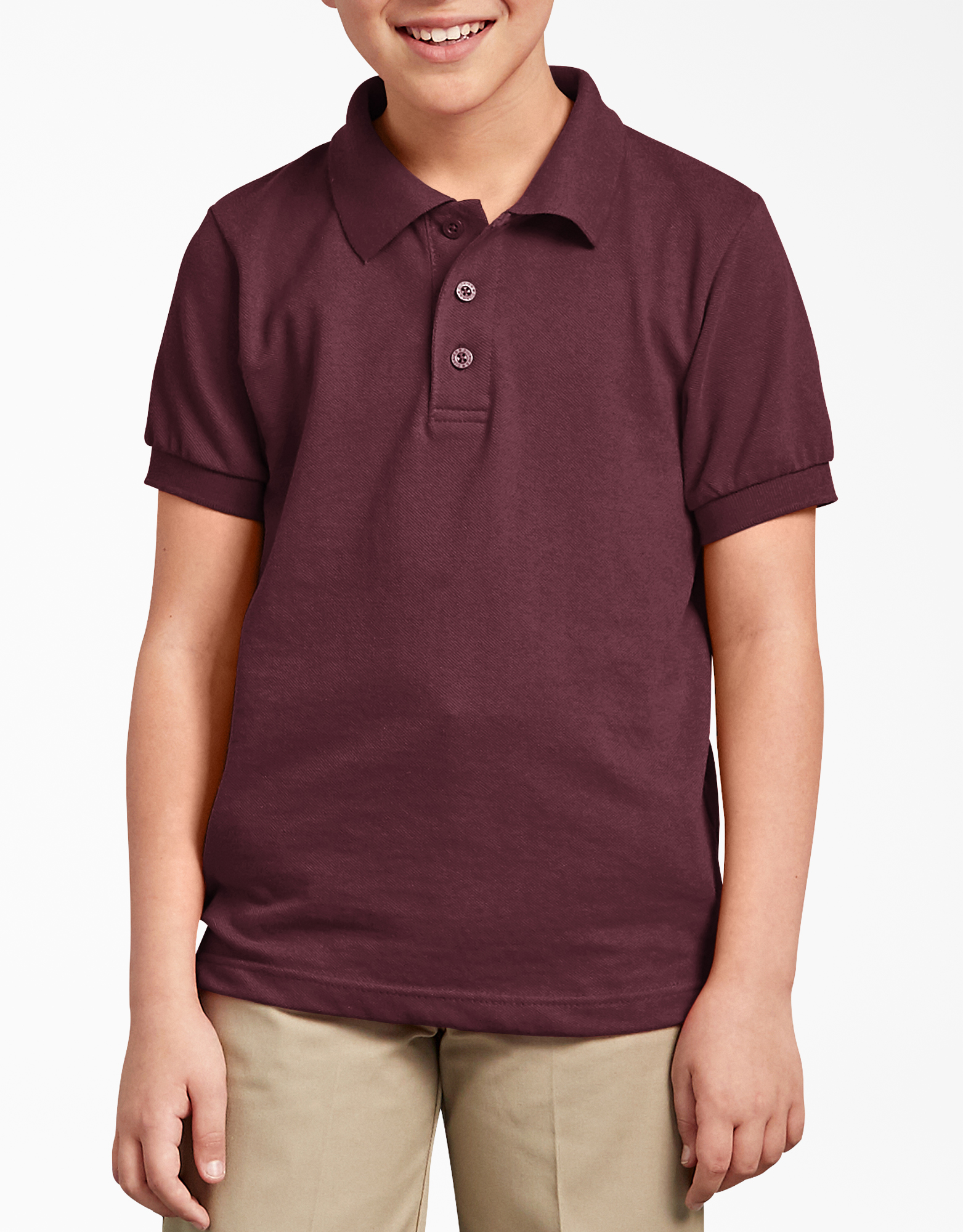 Kids' Short Sleeve Pique Polo Shirt, 4-20 - Burgundy (BY)