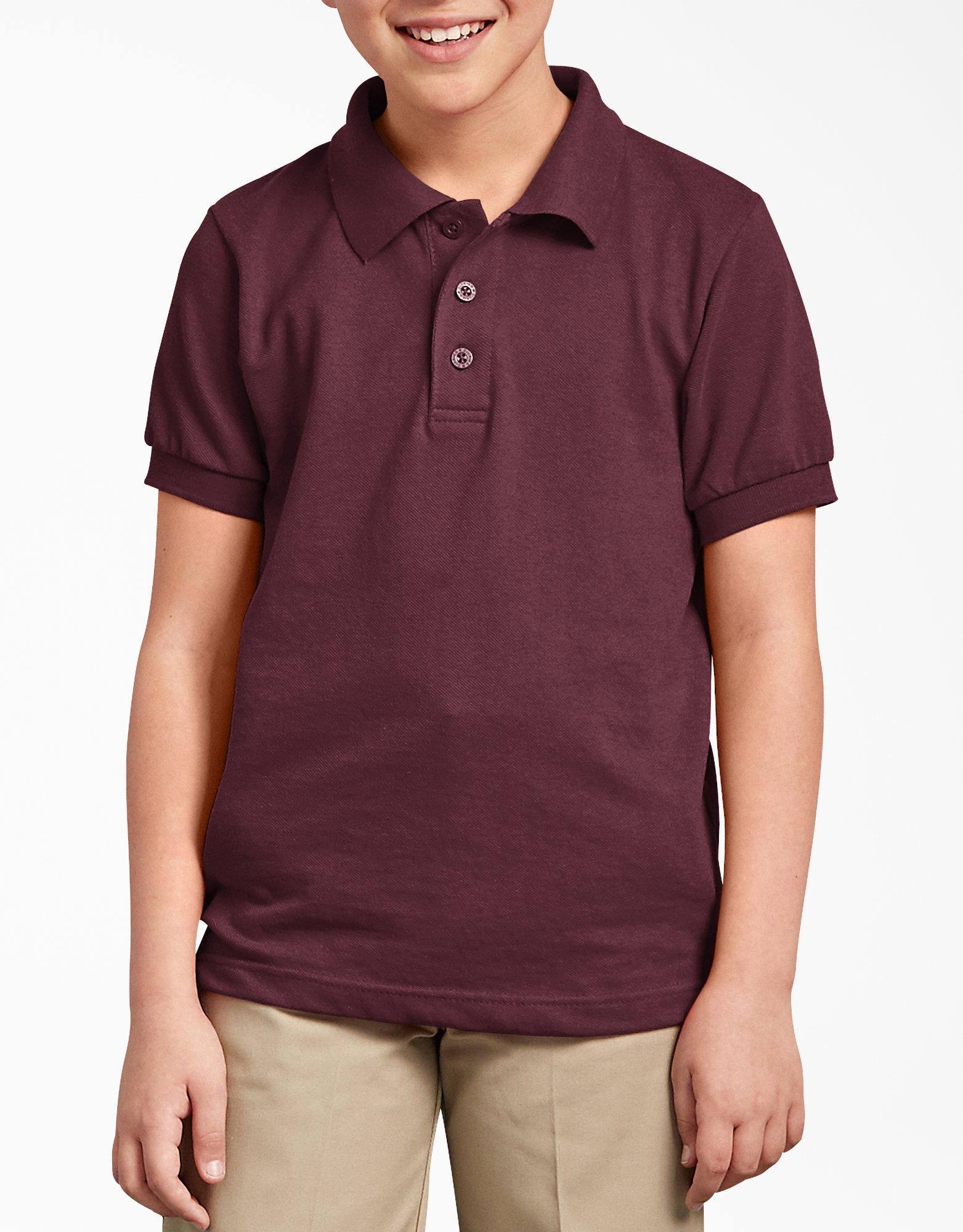 Kids' Short Sleeve Pique Polo Shirt, 8-20 - Burgundy (BY)
