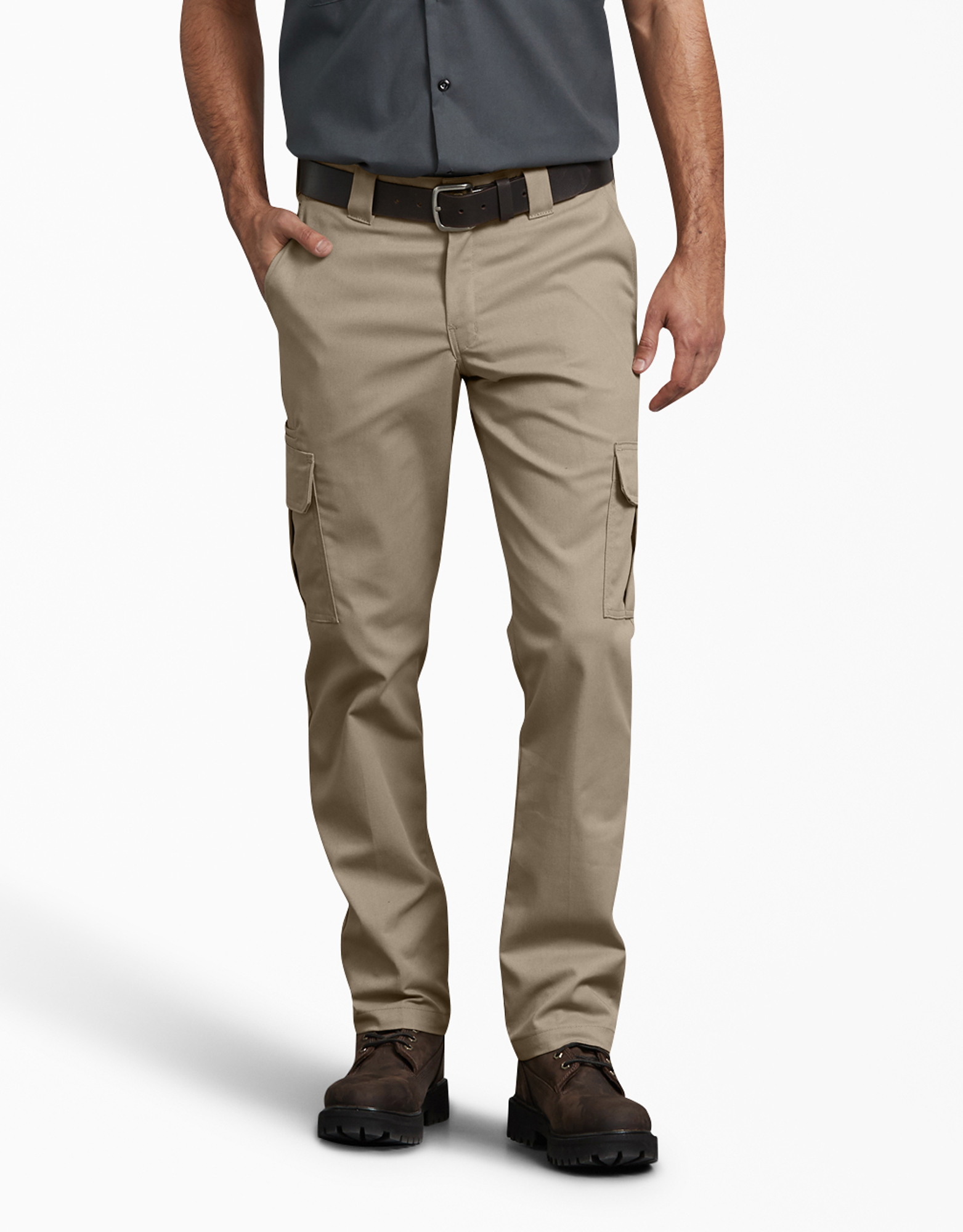 FLEX Slim Fit Straight Leg Cargo Pants - Desert Khaki (DS)