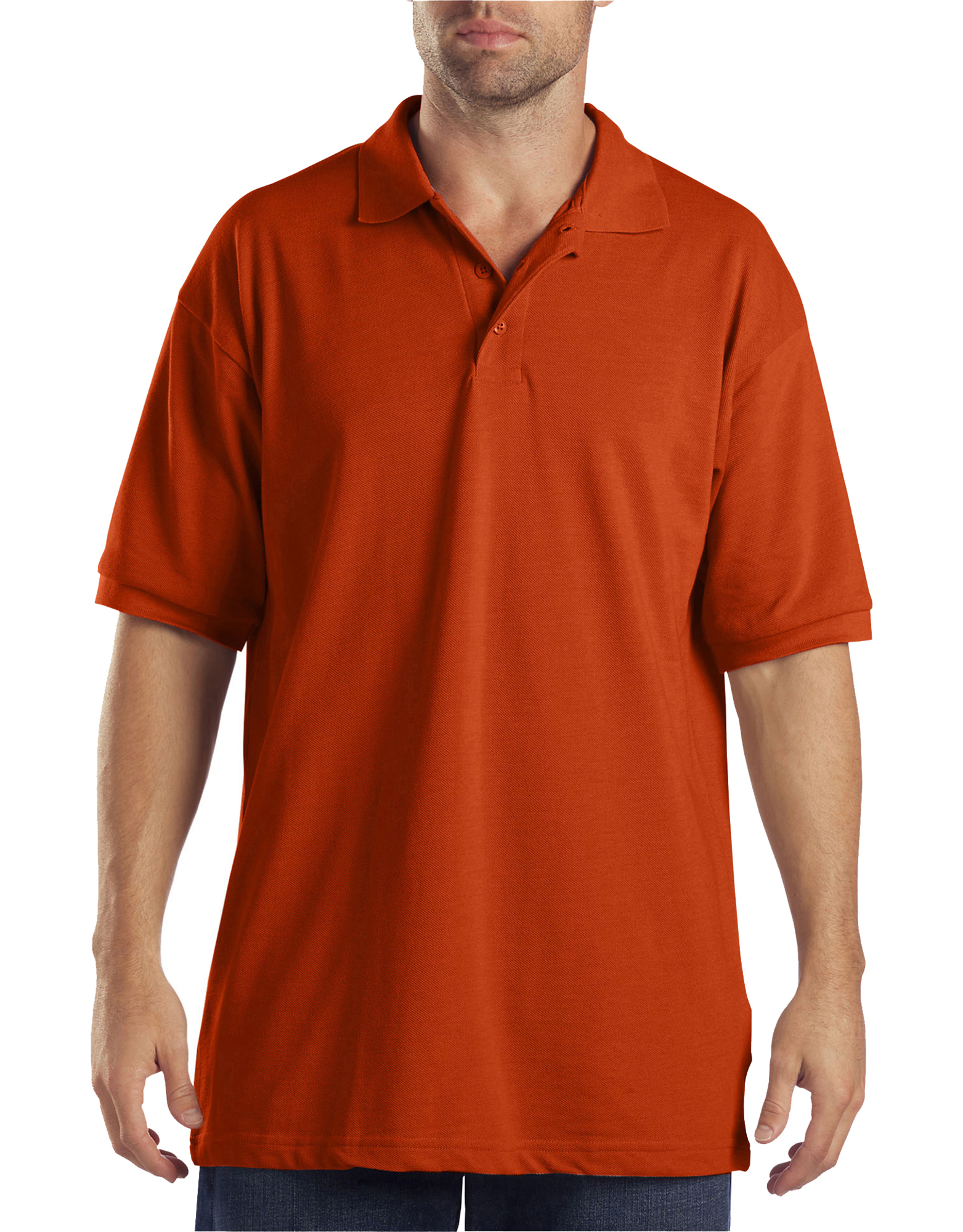 Adult Sized Short Sleeve Pique Polo Shirt - Orange (OR)