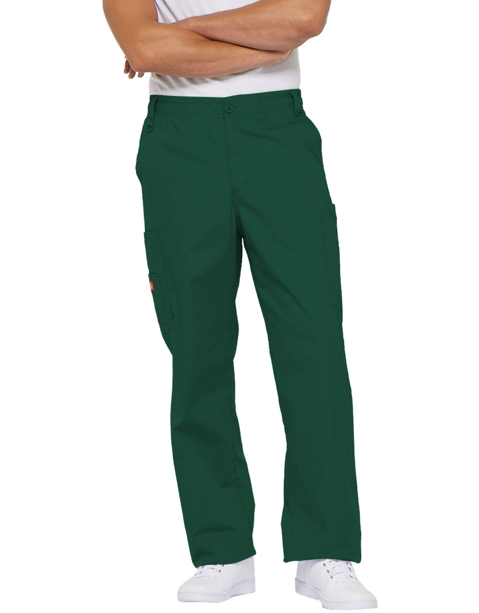 Men's EDS Signature Elastic Waist Cargo Scrub Pants - Hunter Green (HTR)