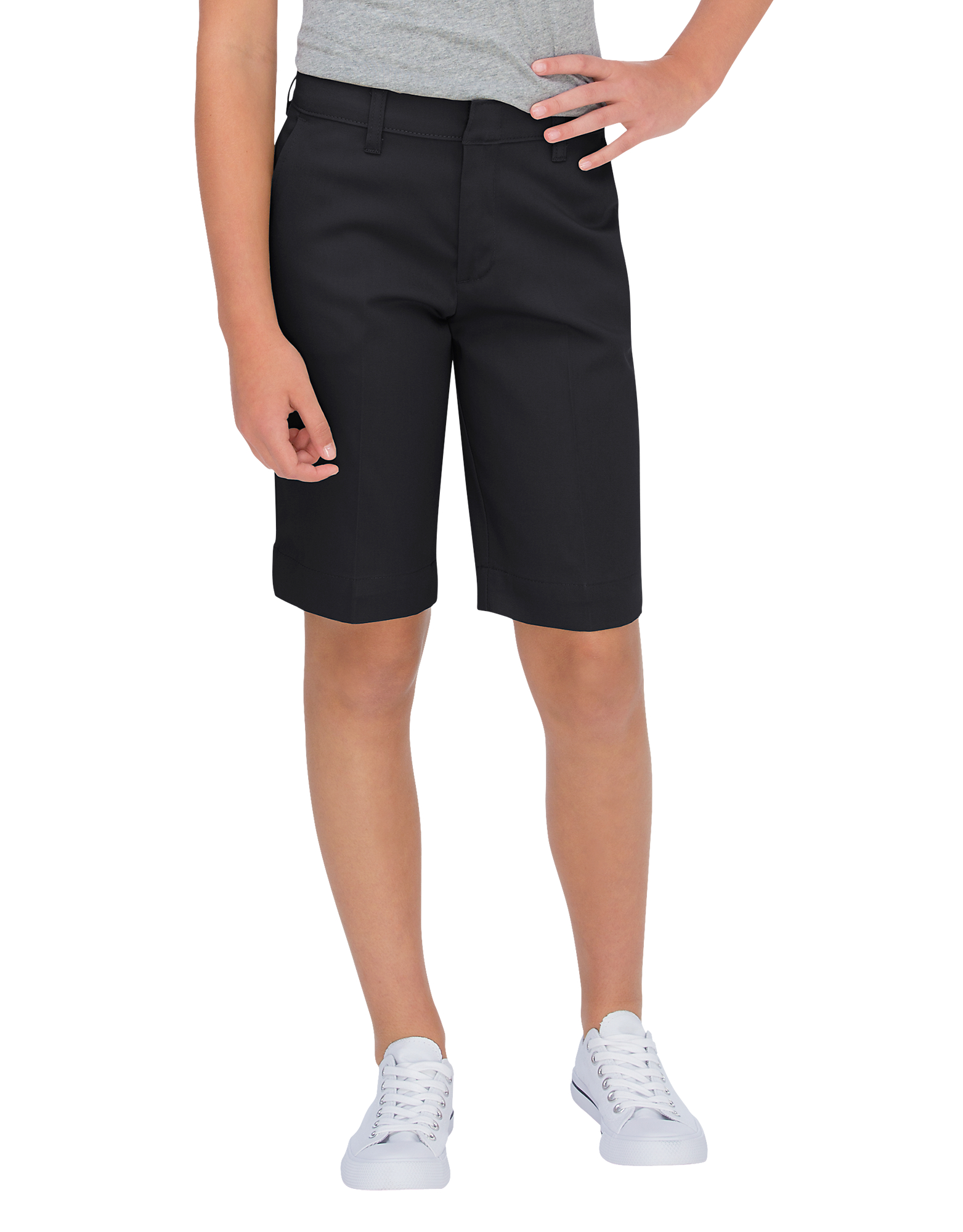 Girls' Classic Fit Bermuda Stretch Twill Shorts, 4-20 - Black (BK)