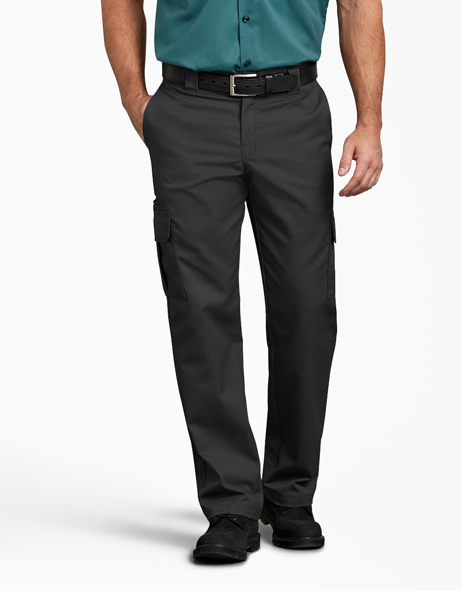 FLEX Regular Fit Straight Leg Cargo Pants - Black (BK)