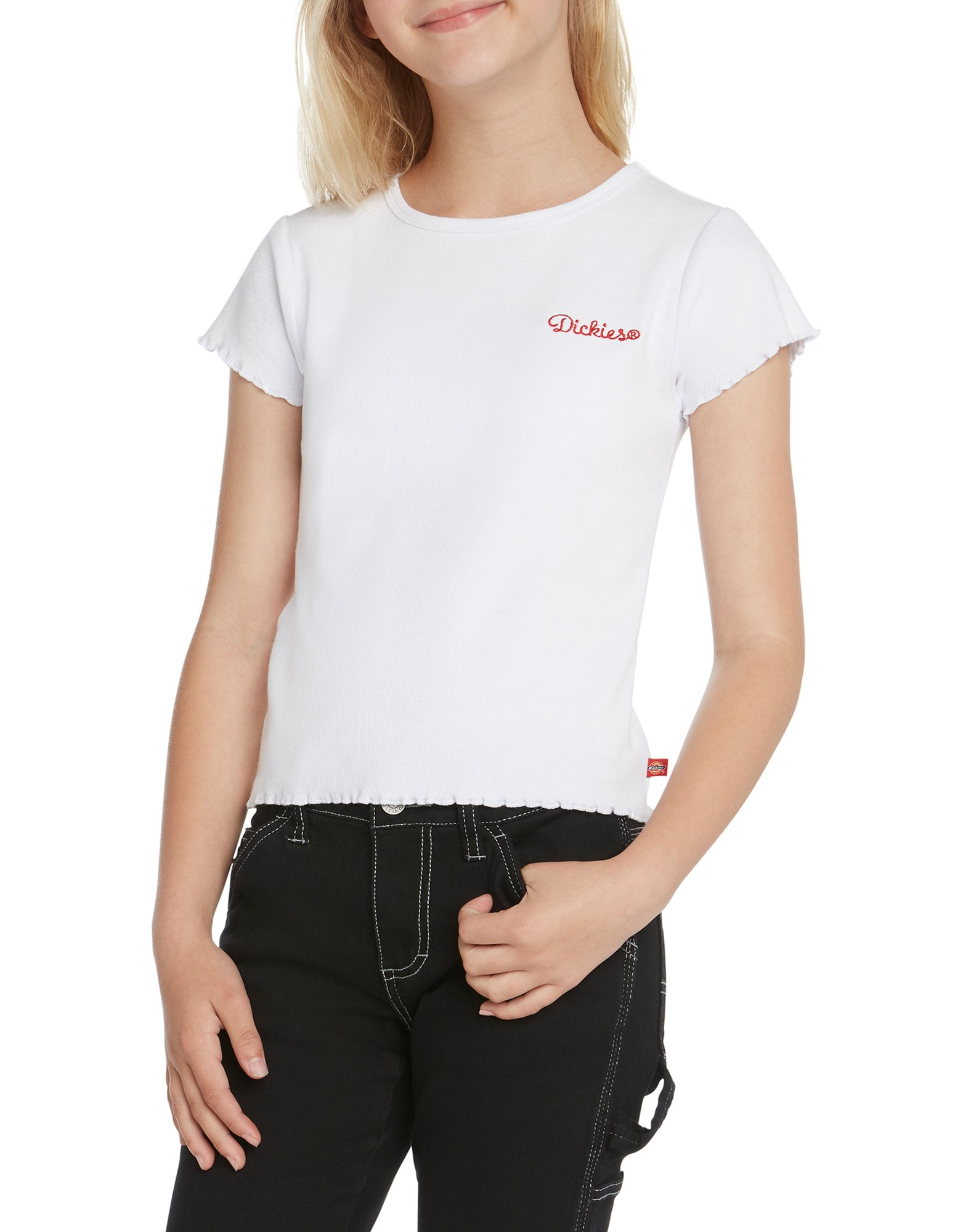 Girls' Short Sleeve Embroidered T-Shirt - White (WH)