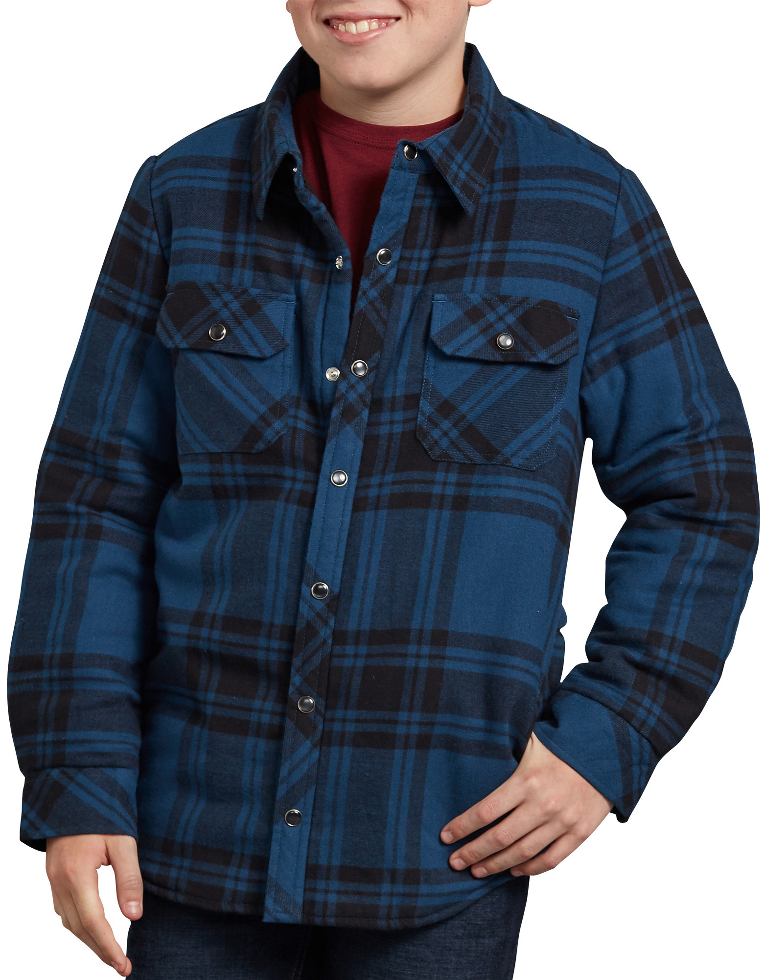 Boys' Flannel Shirt Jacket - Blue Black Plaid (PUE)