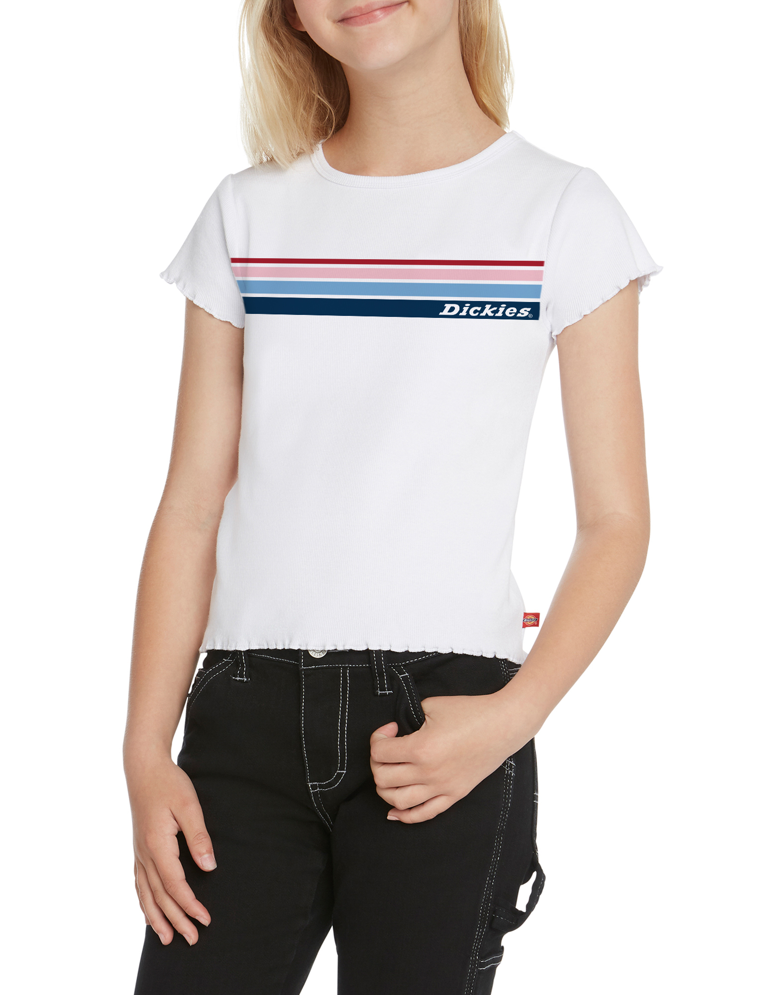 Girls' Short Sleeve Multicolor Logo T-Shirt - White (WH)