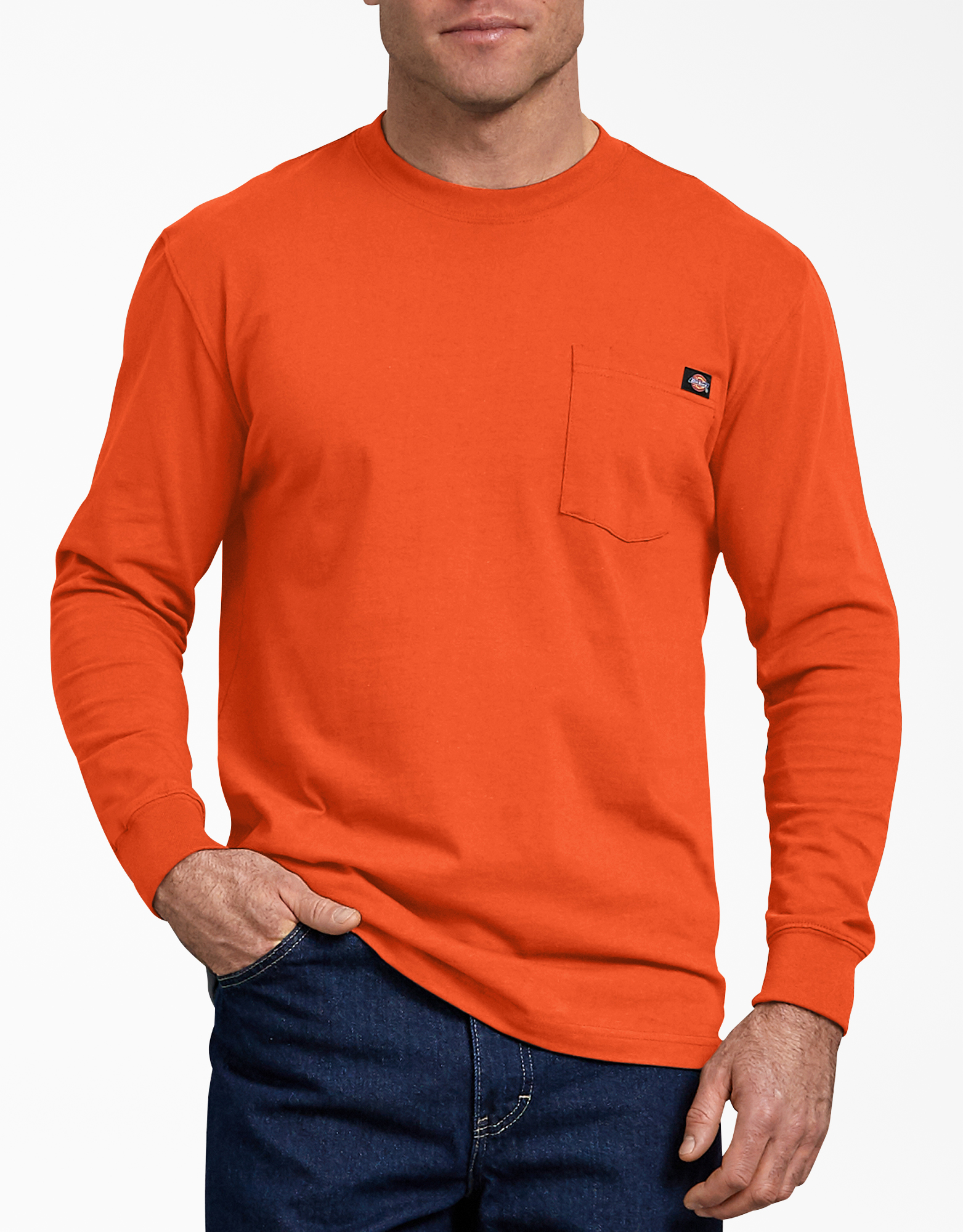 Long Sleeve Heavyweight Crew Neck T-Shirt - Orange (OR)