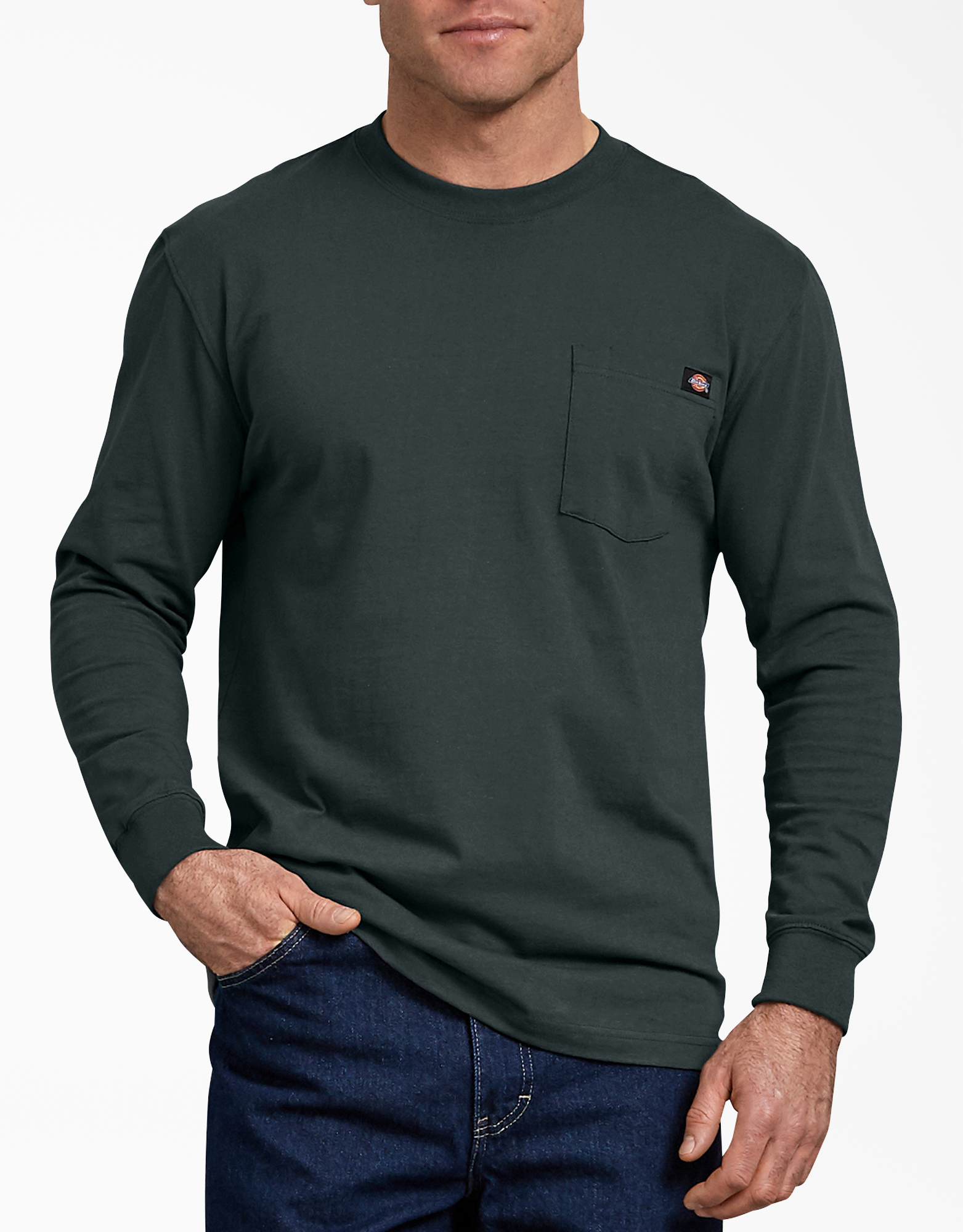 Long Sleeve Heavyweight Crew Neck T-Shirt - Hunter Green (GH)