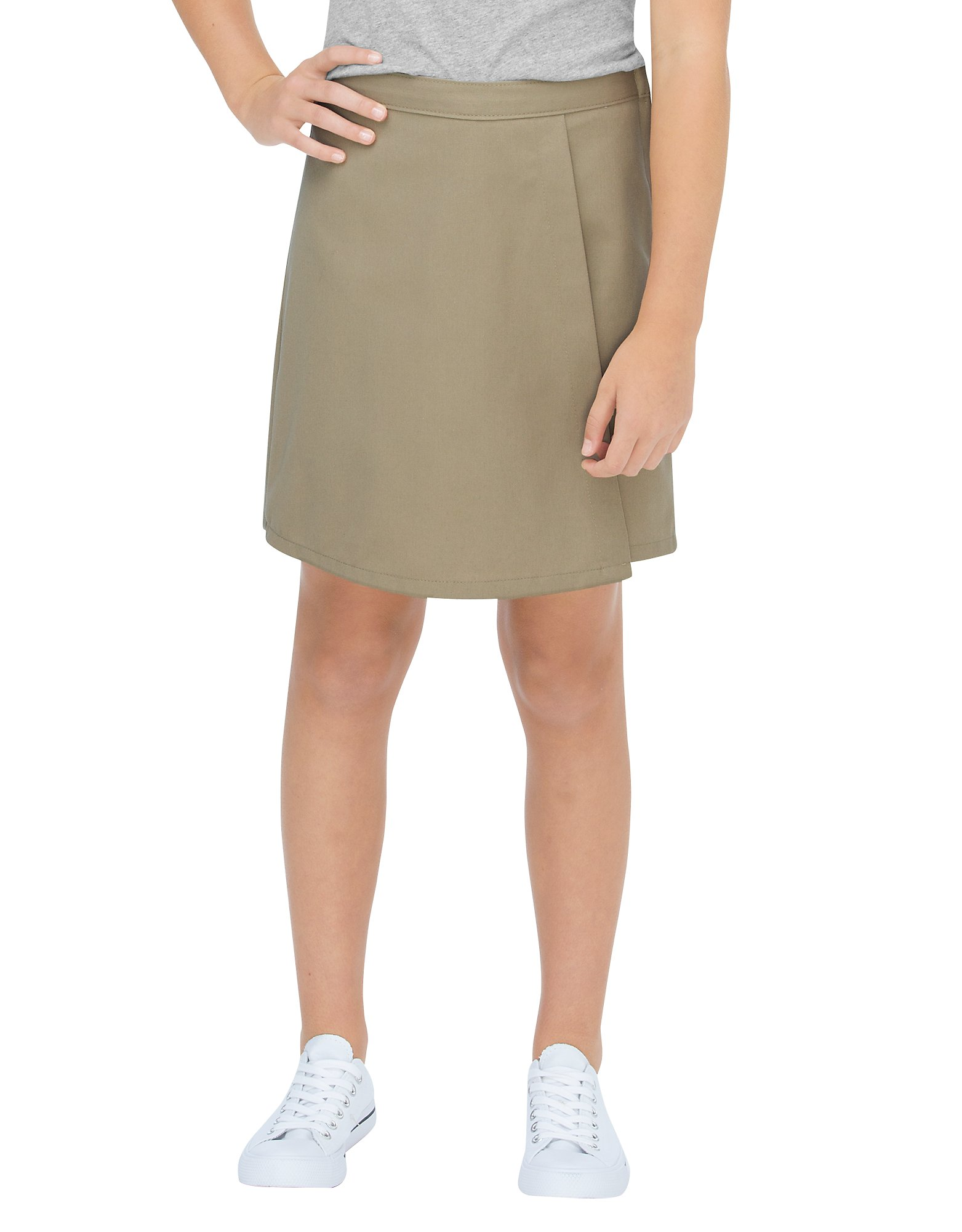 Girls' Faux Wrap Skort, 4-16 - Military Khaki (KH)