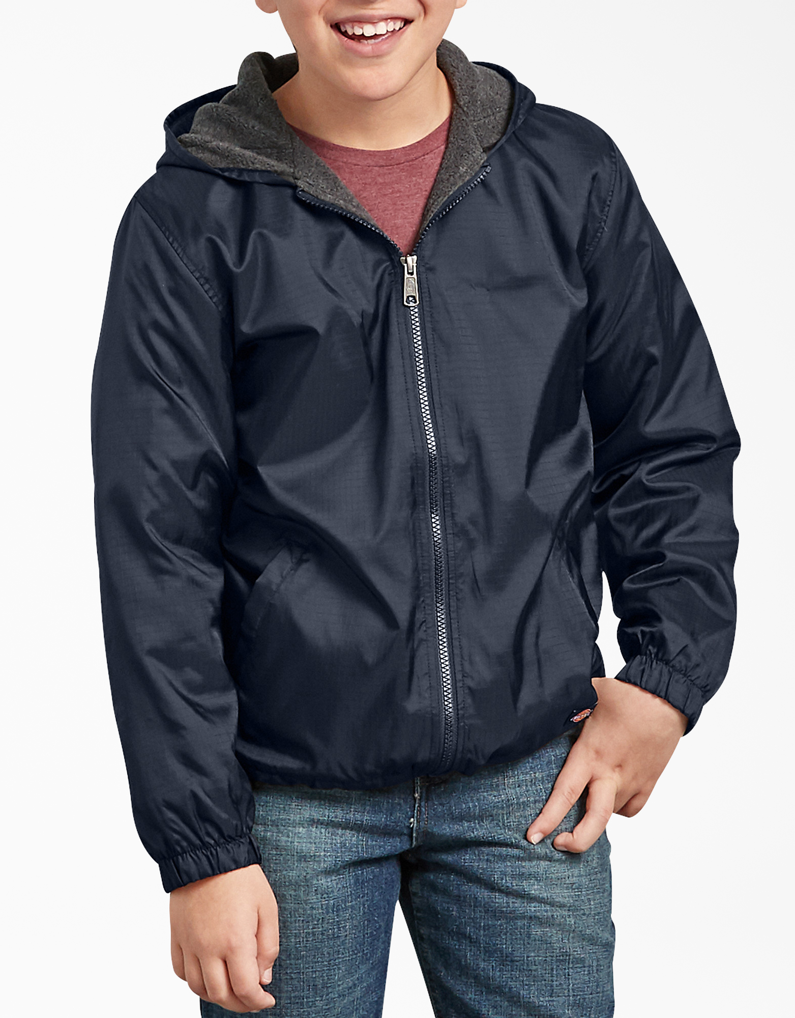 Kids' Fleece Lined Hooded Nylon Jacket - Dark Navy (DN)