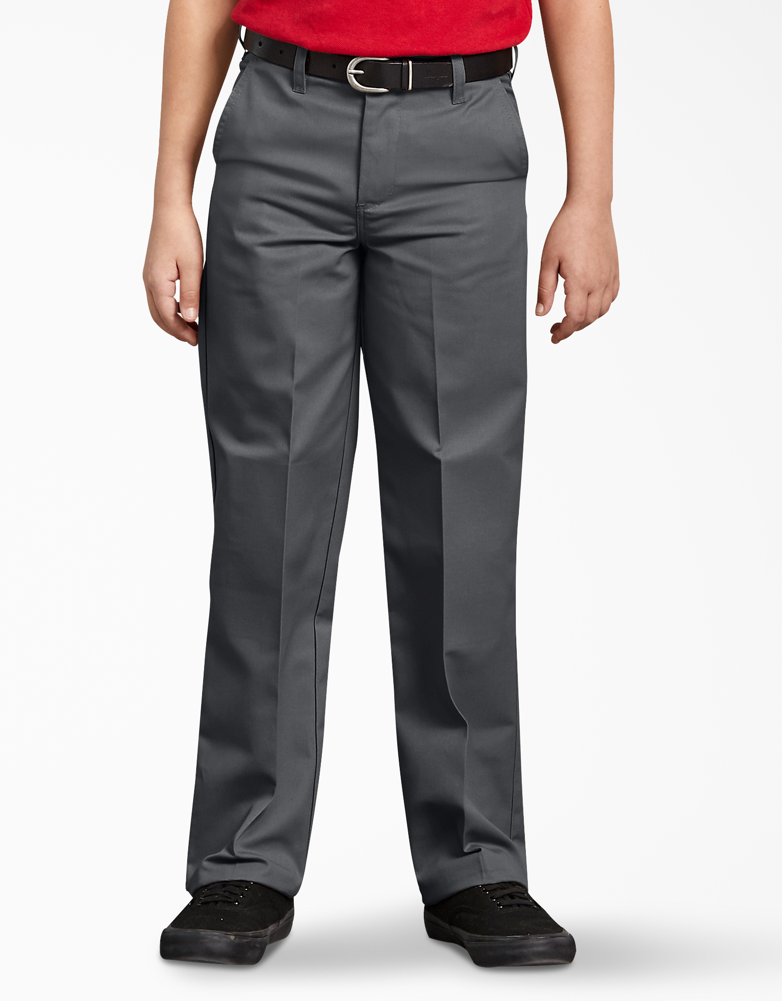 Boys' Classic Fit Straight Leg Flat Front Pants, 8-20 - Charcoal Gray (CH)