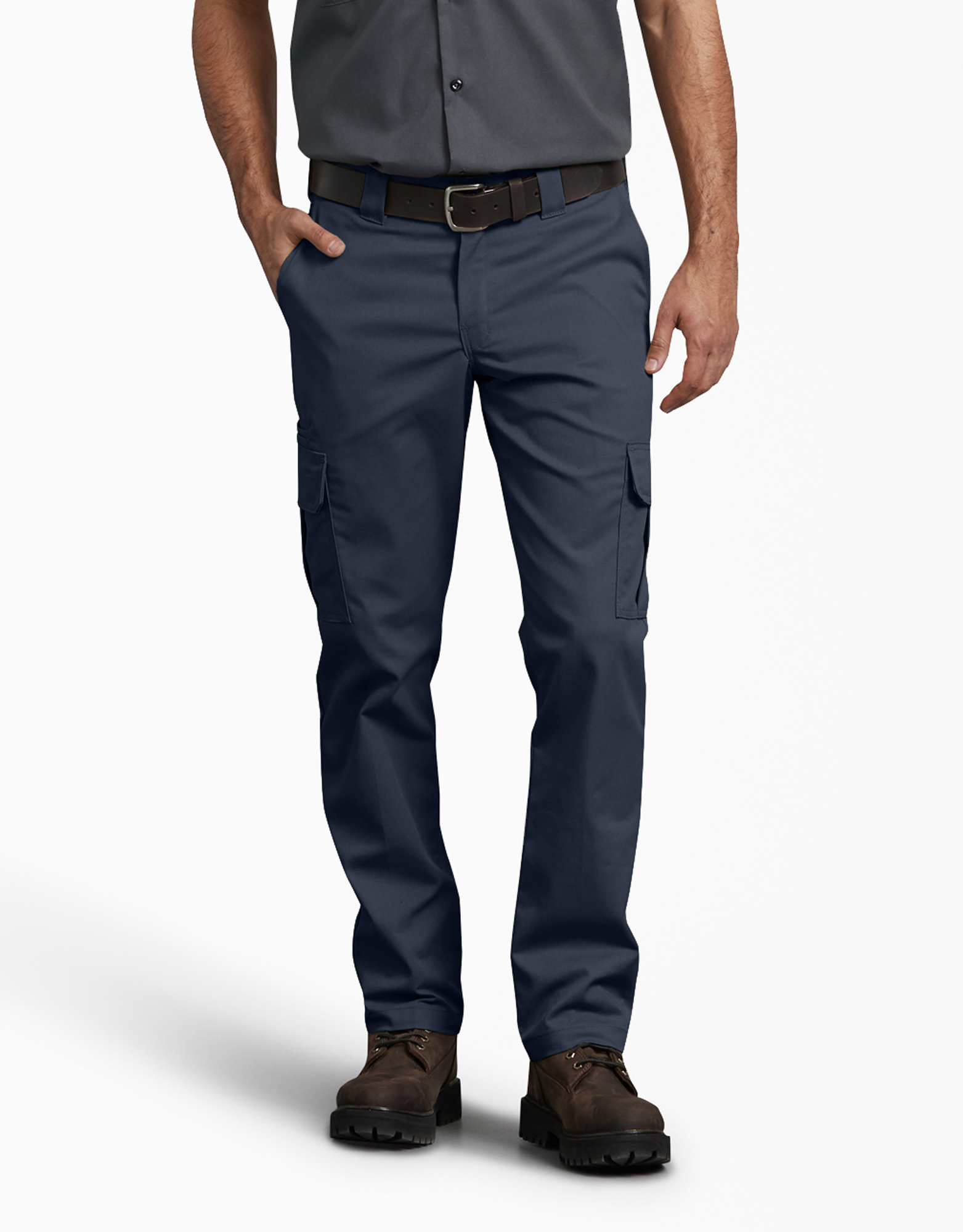 FLEX Slim Fit Straight Leg Cargo Pants - Dark Navy (DN)