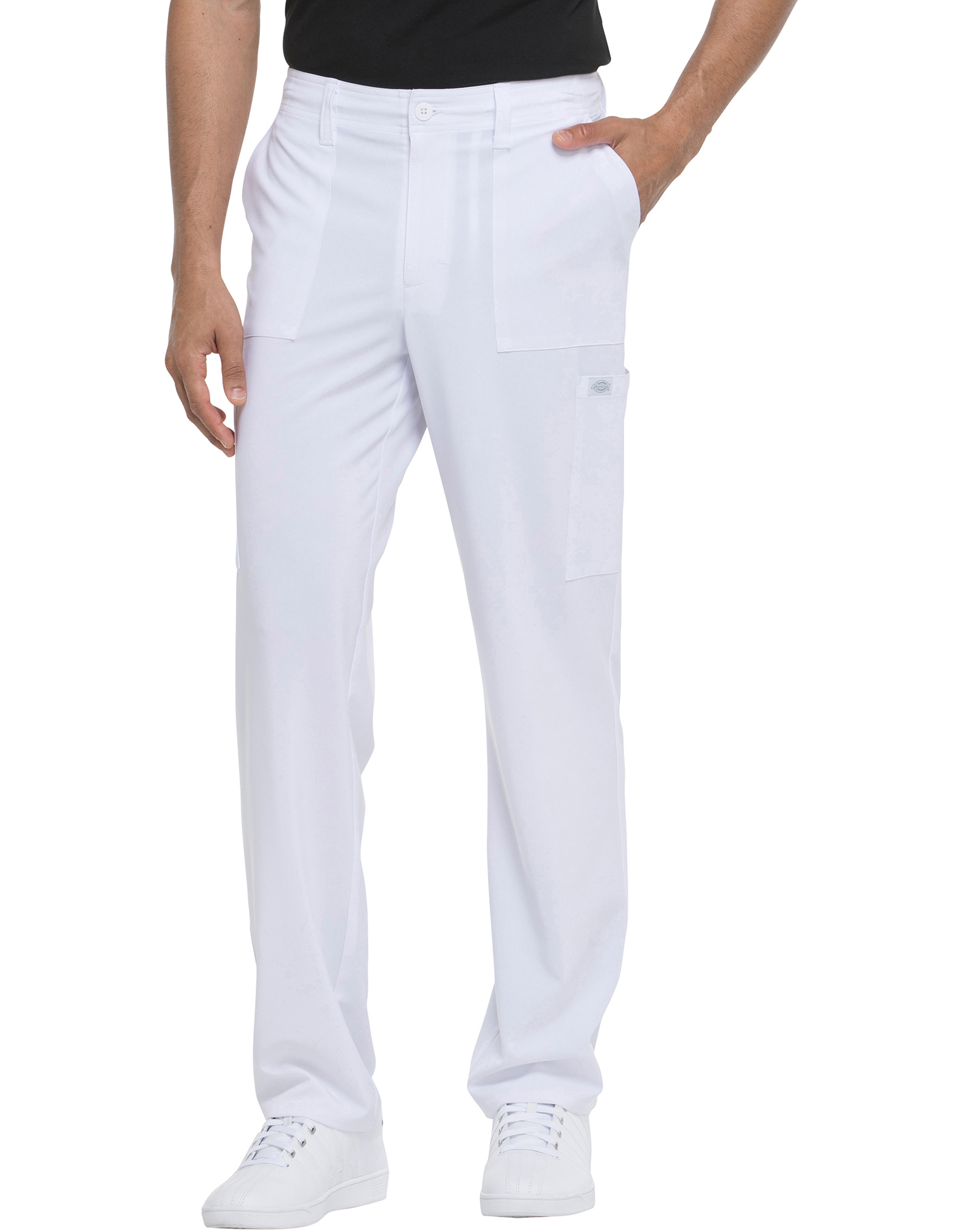 Men's EDS Essentials Natural Rise Drawstring Scrub Pants - White (DWH)