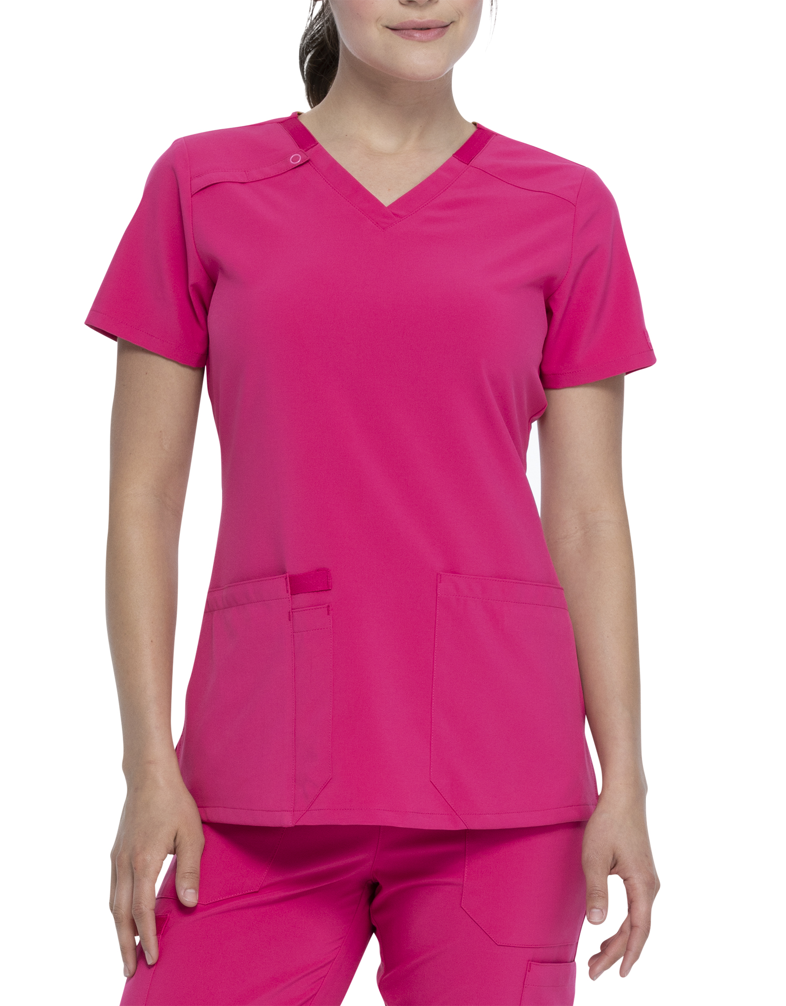 Women's EDS Essentials V-Neck Scrub Top with Pen Slot - Hot Pink (HPK)