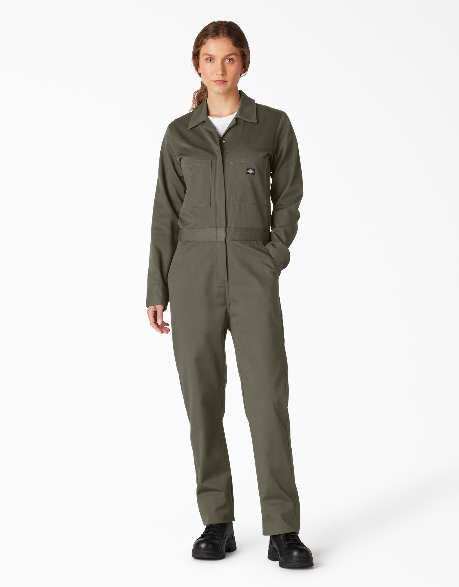 Women's Long Sleeve Cotton Coverall - Moss Green (MS)