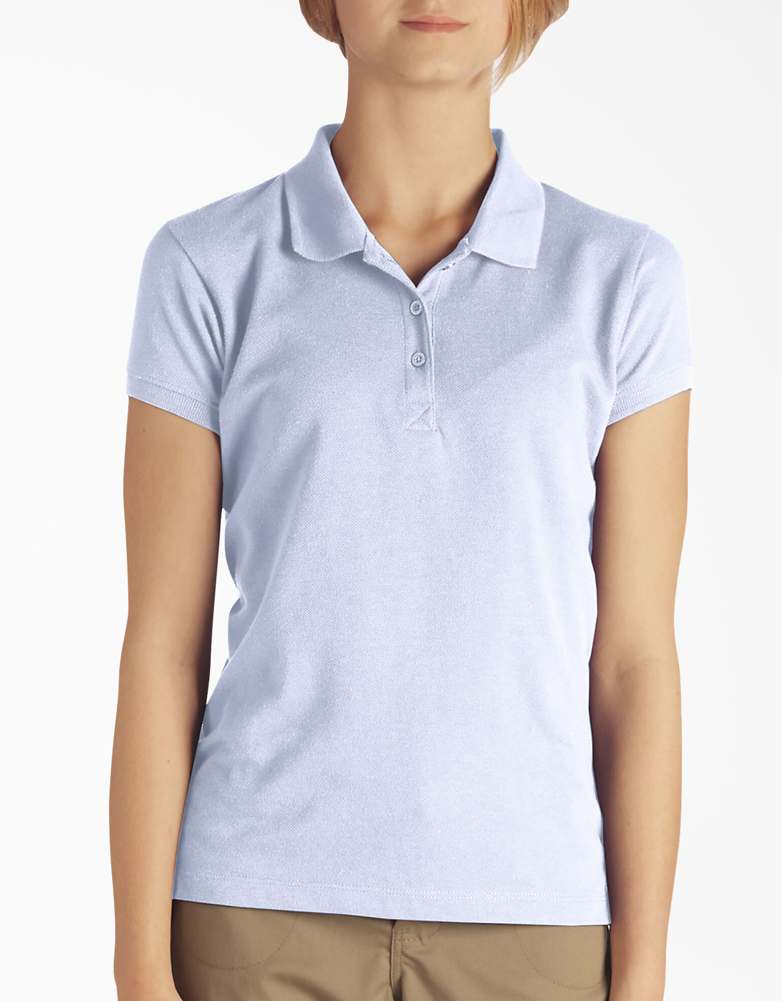 Girls' Short Sleeve Pique Polo Shirt, 4-6 - Light Blue (LB)