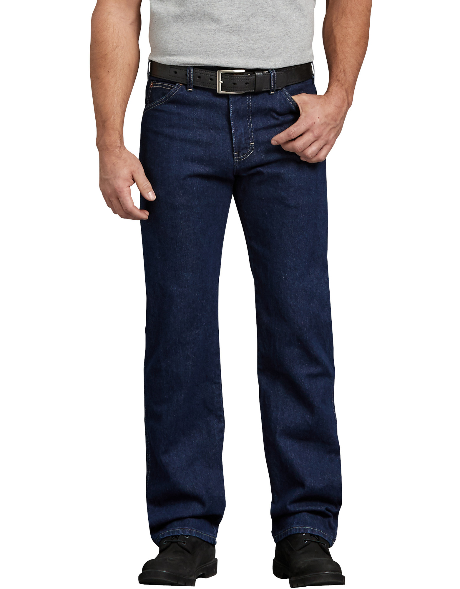 Regular Straight Fit 6-Pocket Denim Jeans - Rinsed Indigo Blue (RNB)