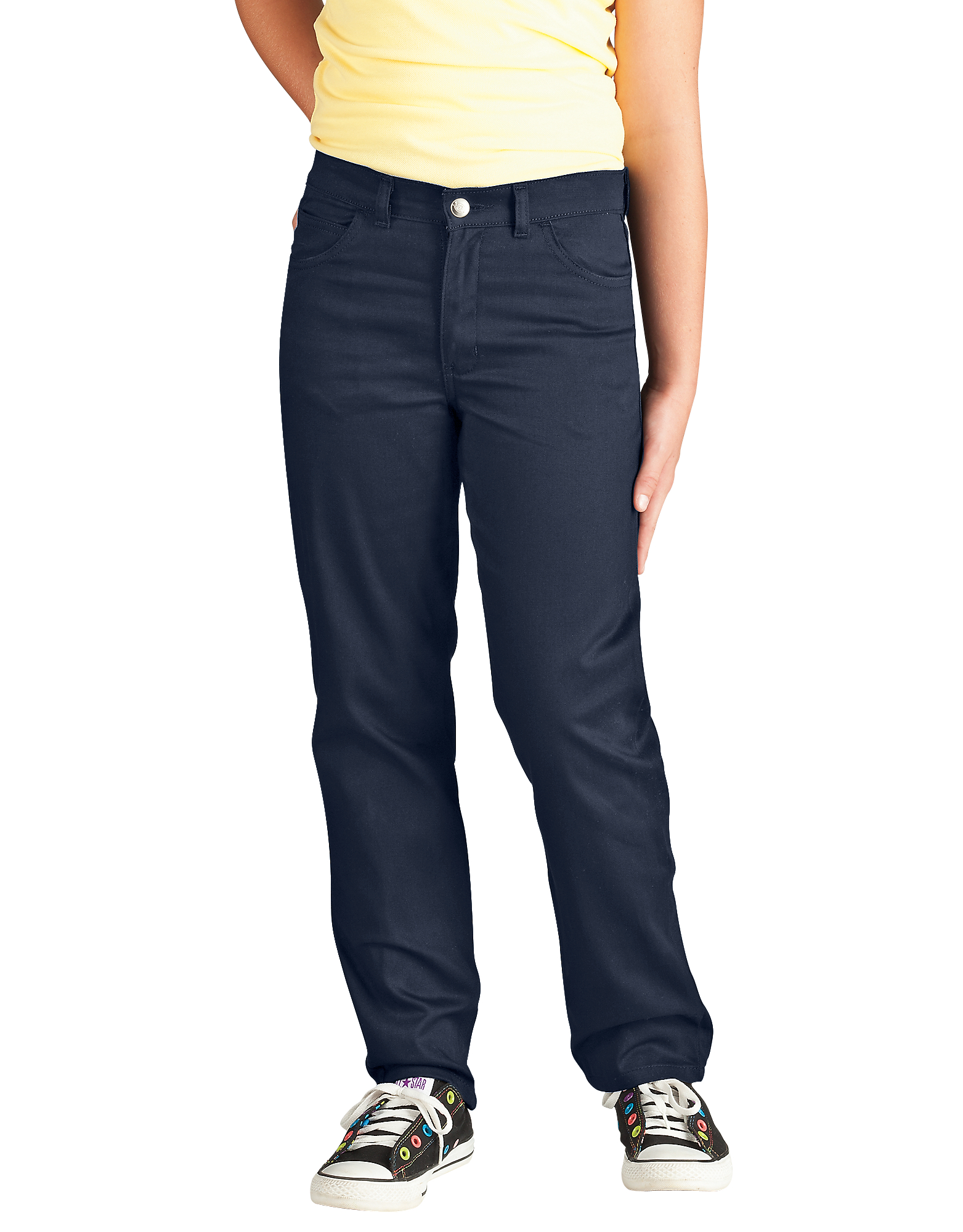 Girls' Skinny Fit Straight Leg 5-Pocket Stretch Twill Pants, 7-20 - Dark Navy (DN)