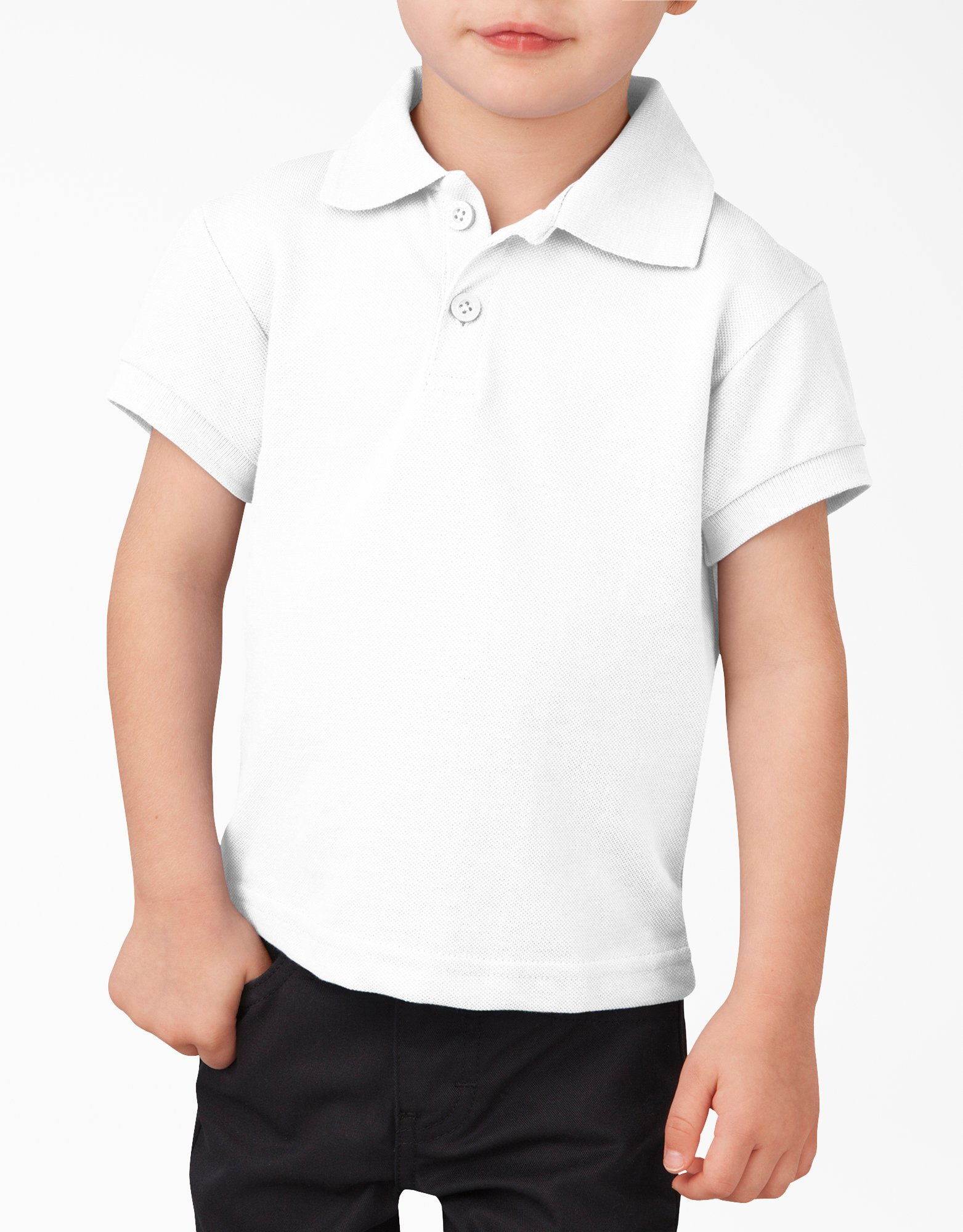 Toddler Short Sleeve Piqué Polo Shirt - White (WH)