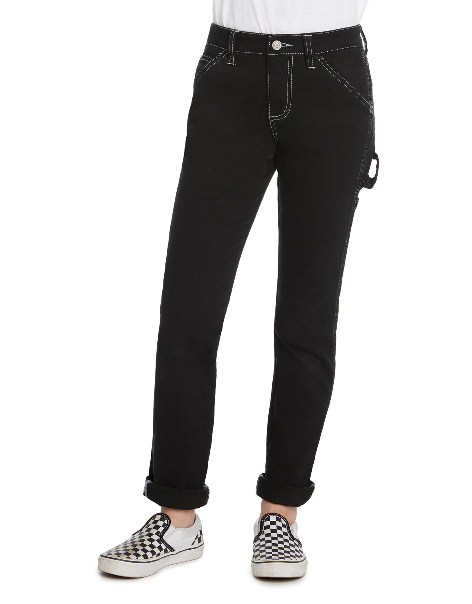 Girls' FLEX Skinny Fit Carpenter Pants - Black (BK)