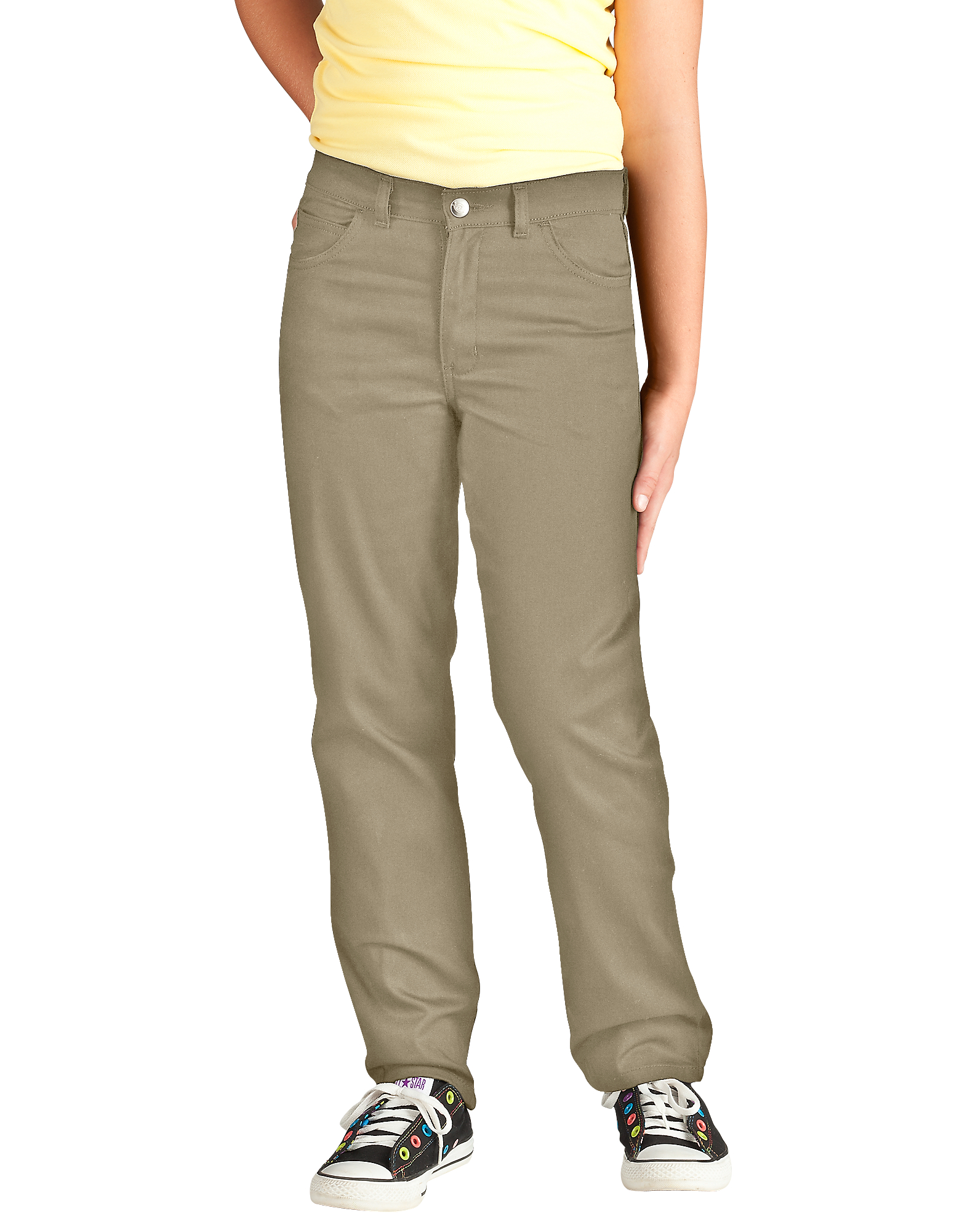 Girls' Skinny Fit Straight Leg 5-Pocket Stretch Twill Pants, 7-20 - Desert Khaki (DS)