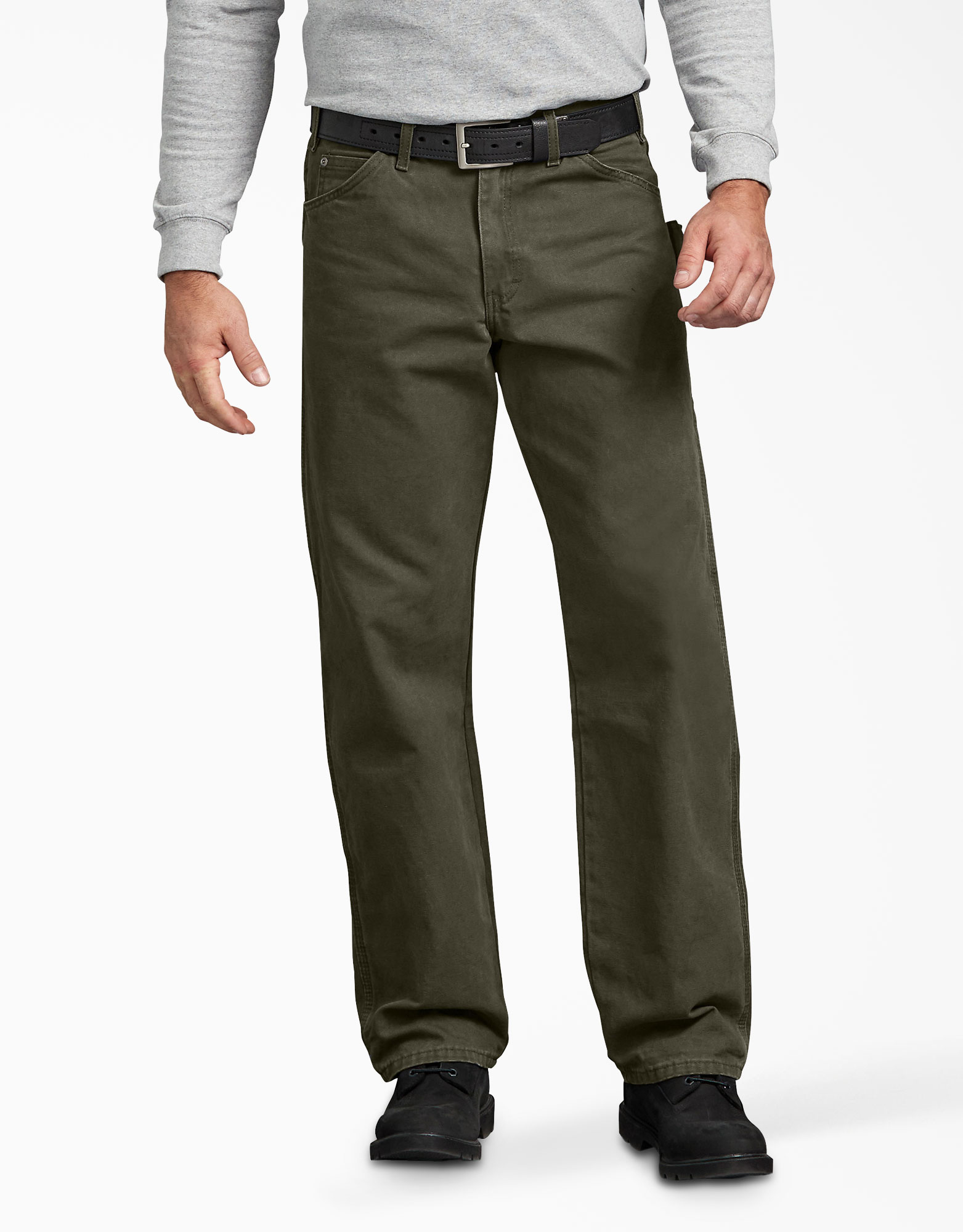 Relaxed Fit Straight Leg Carpenter Duck Jeans - Moss Green (RMS)