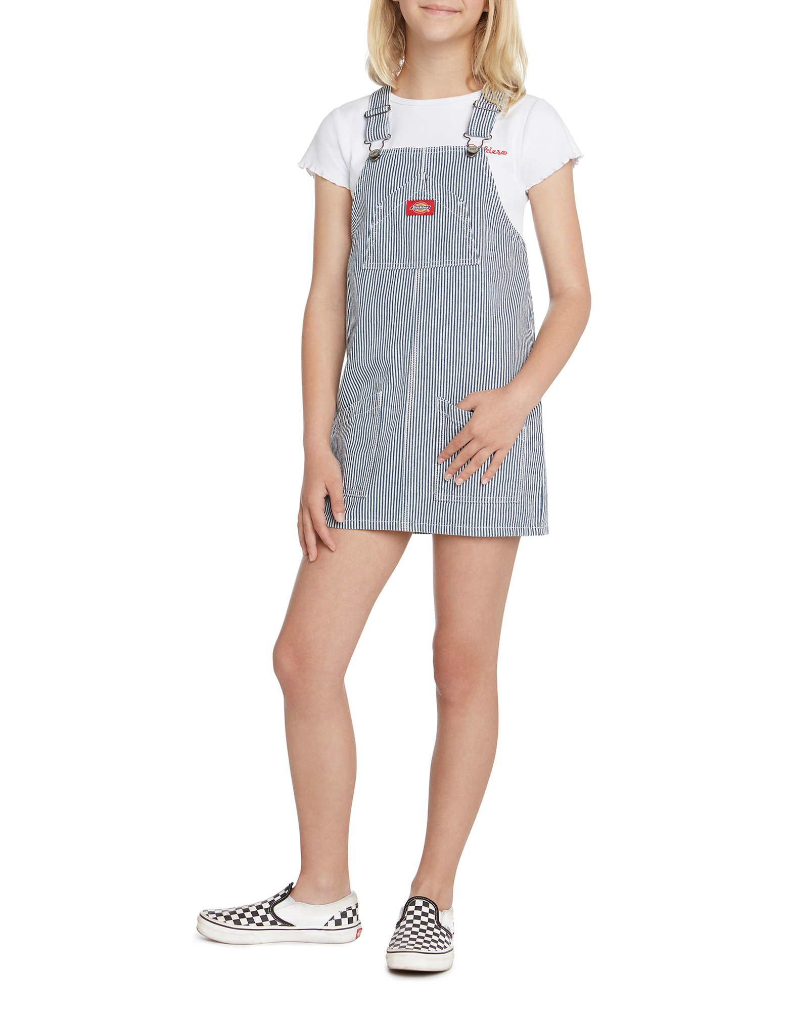 Girls' Hickory Striped Overall Dress - Blue White Hickory Stripe (HS)