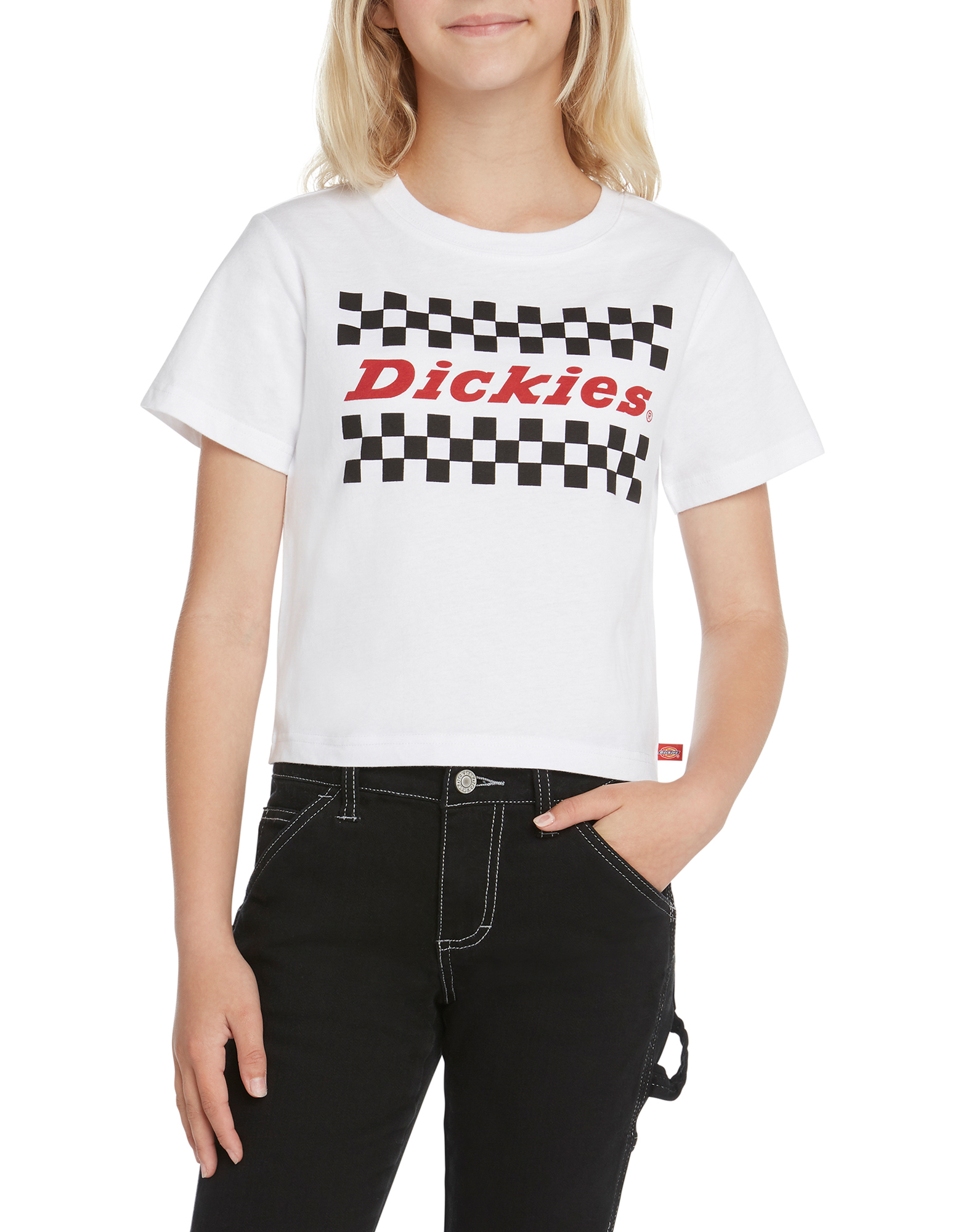 Girls' Short Sleeve Cropped Checkered T-Shirt - White (WH)