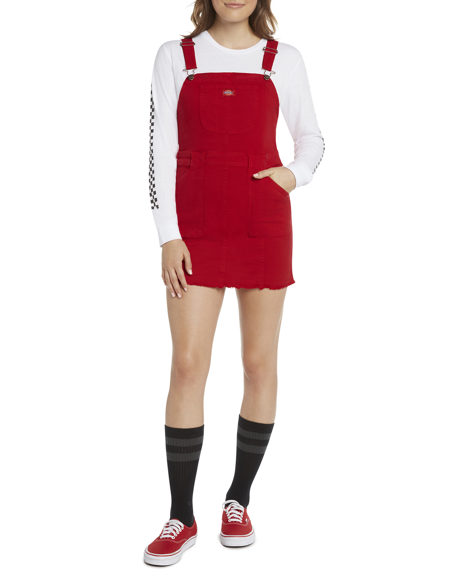 Dickies Girl Juniors' Overall Dress - Red (RD)