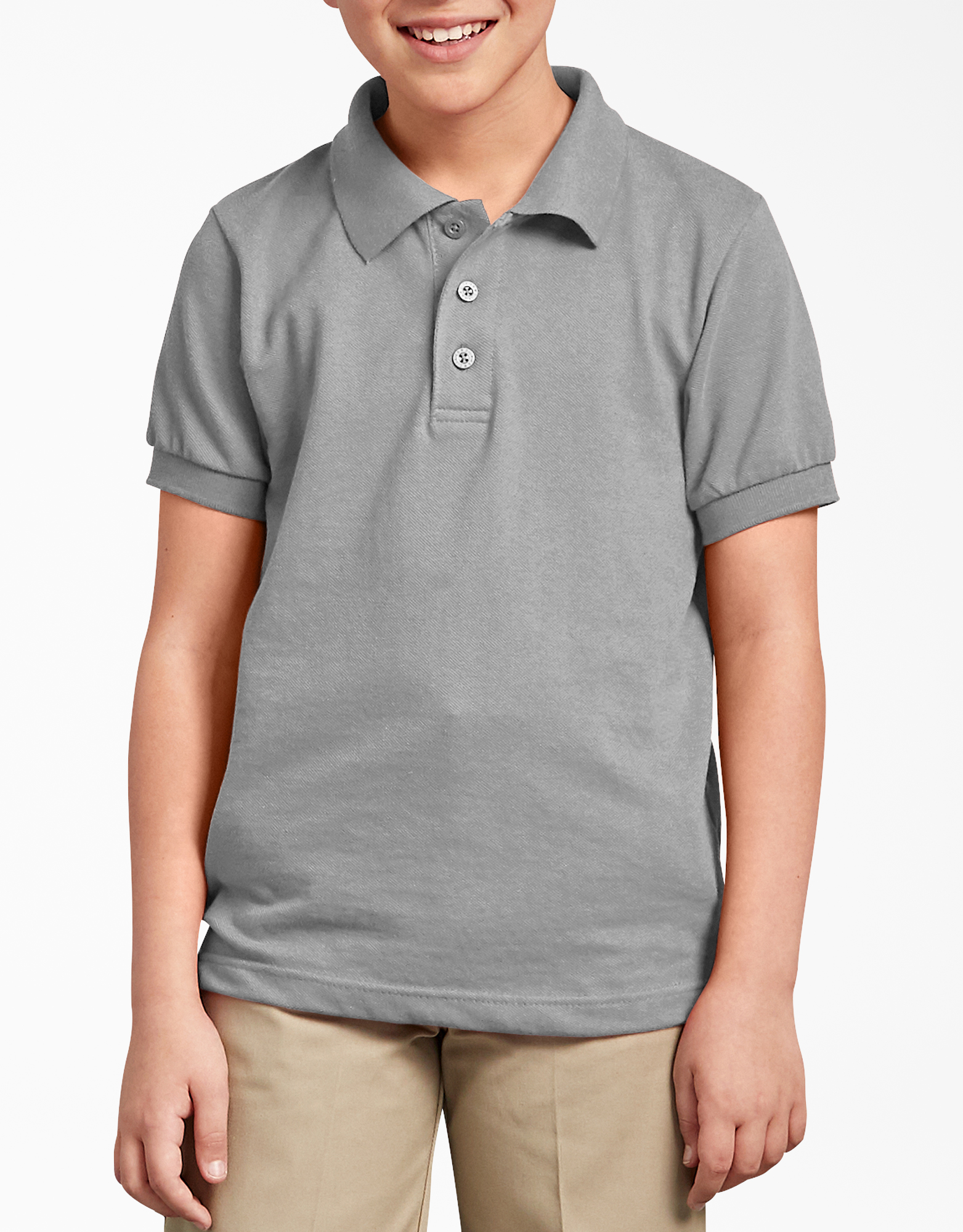 Kids' Short Sleeve Pique Polo Shirt, 4-20 - Heather Gray (HG)