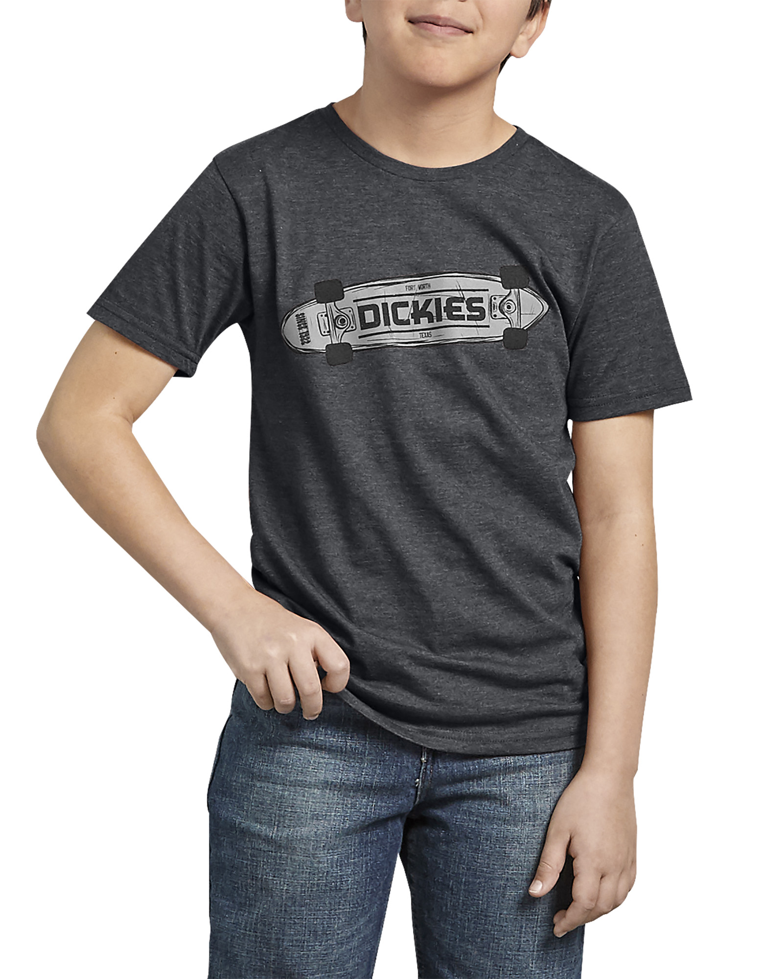 Kids Dickies Skateboard Graphic T-Shirt - Charcoal Gray (ACH)