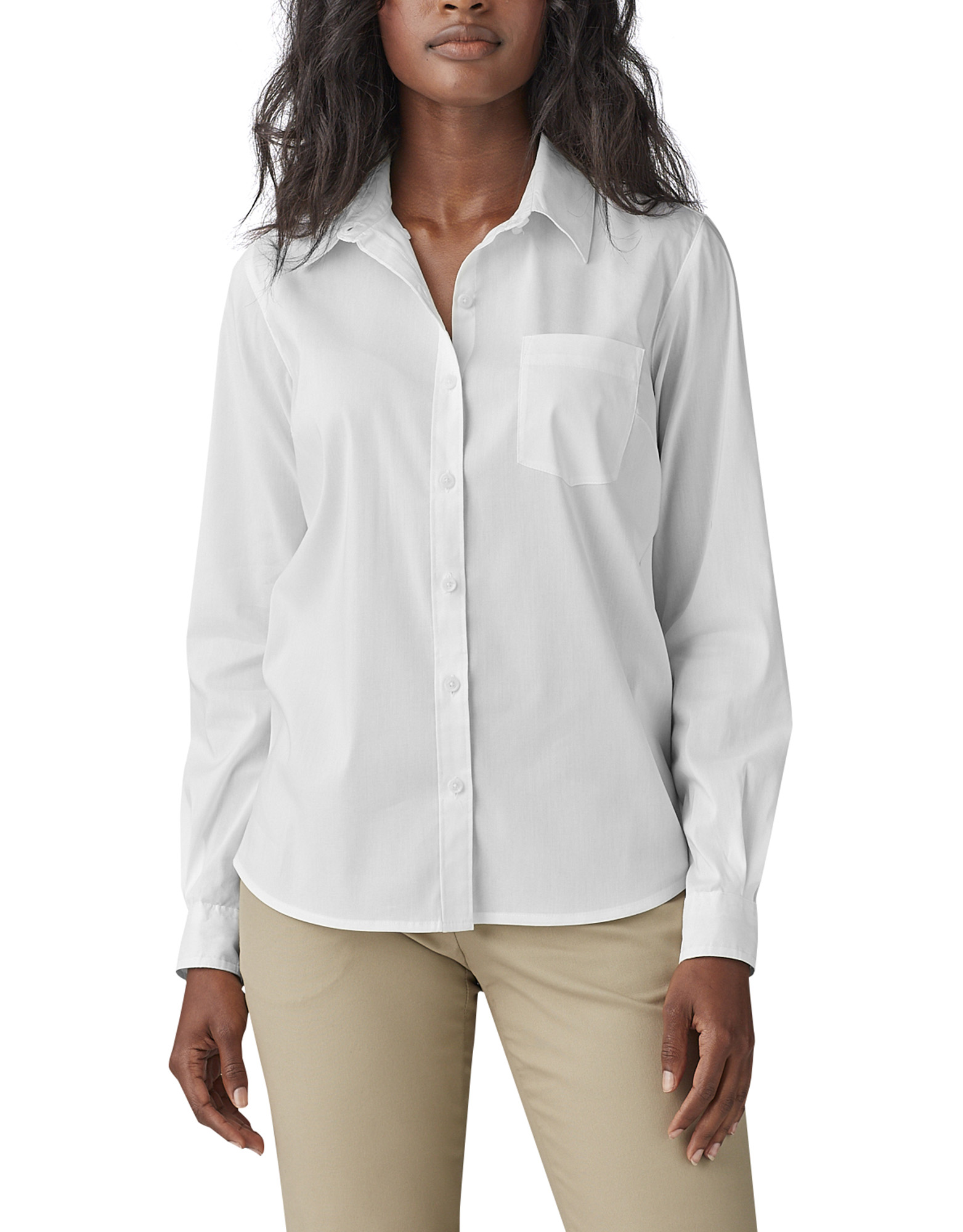 Women's Long Sleeve Poplin Stretch Work Shirt - White (WH)
